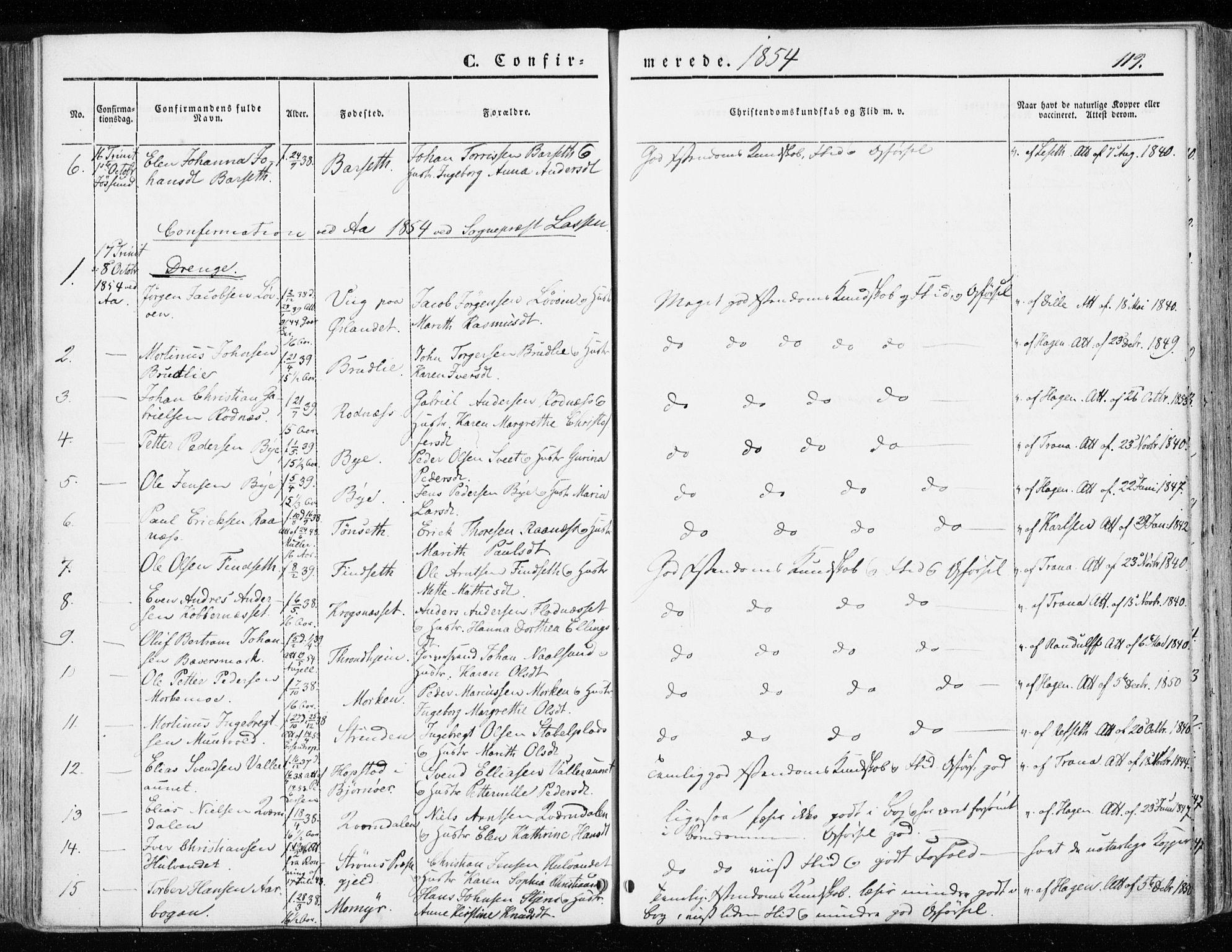 SAT, Ministerialprotokoller, klokkerbøker og fødselsregistre - Sør-Trøndelag, 655/L0677: Parish register (official) no. 655A06, 1847-1860, p. 119