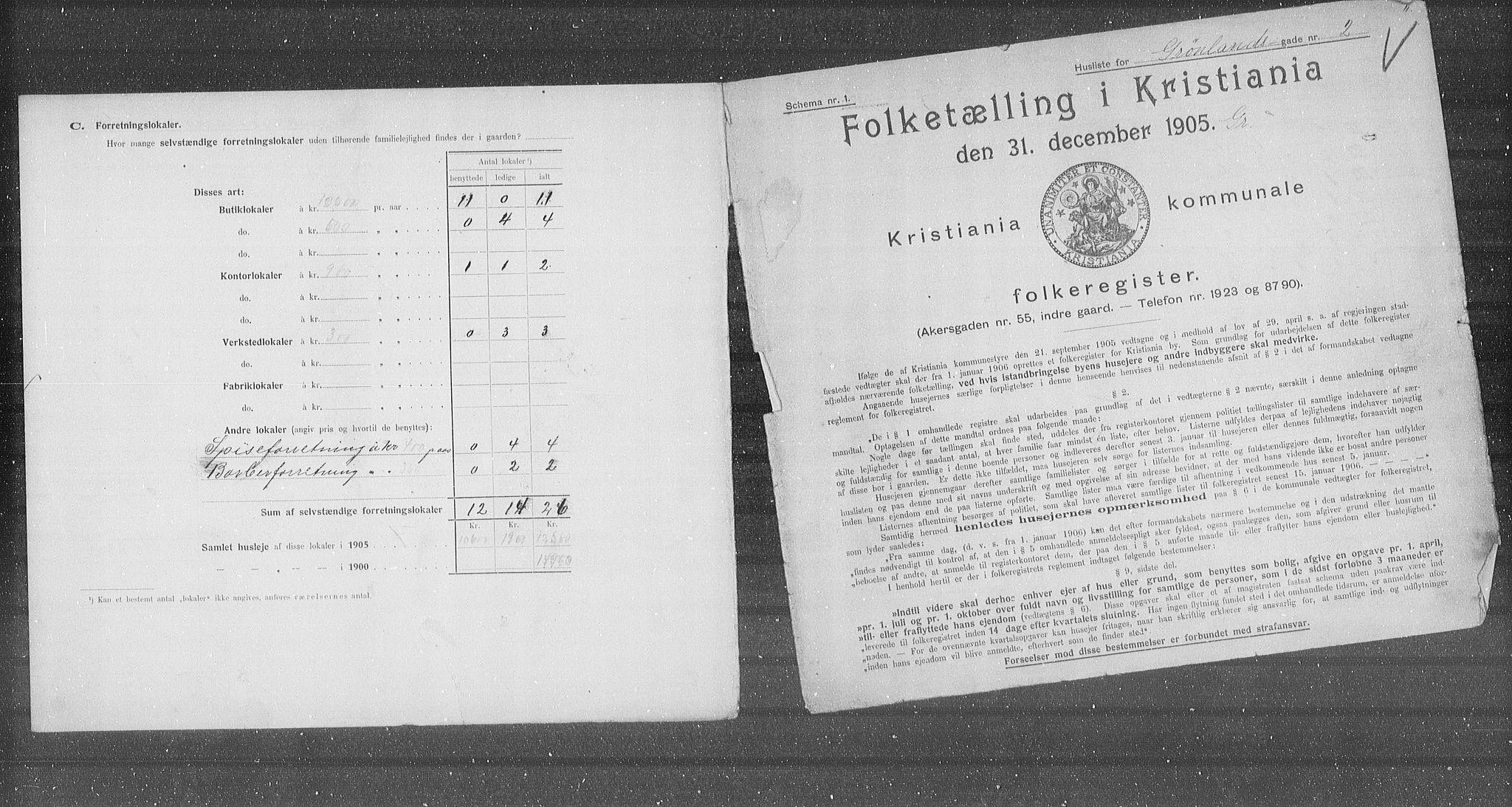 OBA, Municipal Census 1905 for Kristiania, 1905, p. 16236