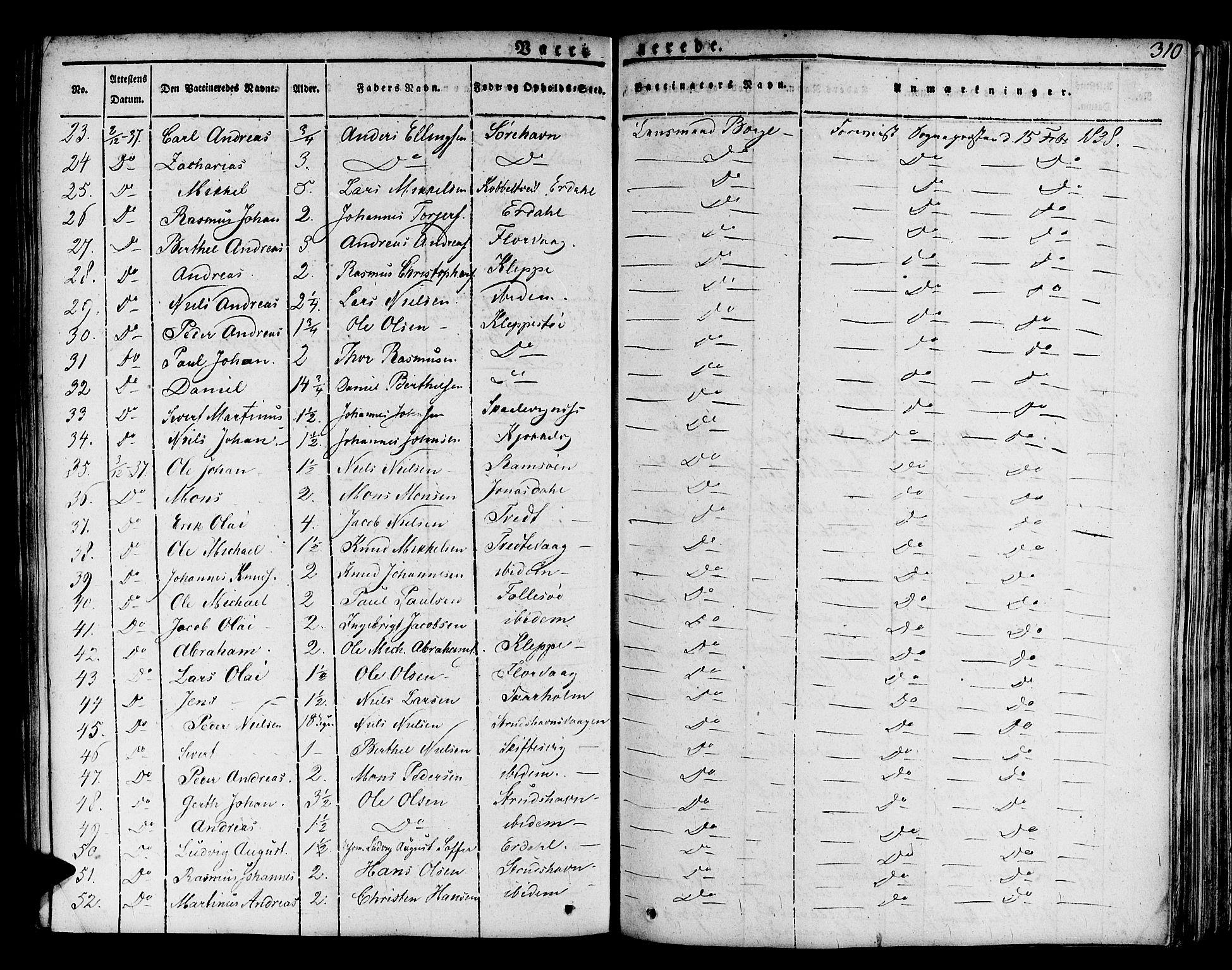 SAB, Askøy Sokneprestembete, H/Ha/Haa/Haaa/L0004: Parish register (official) no. A 4, 1825-1845, p. 310
