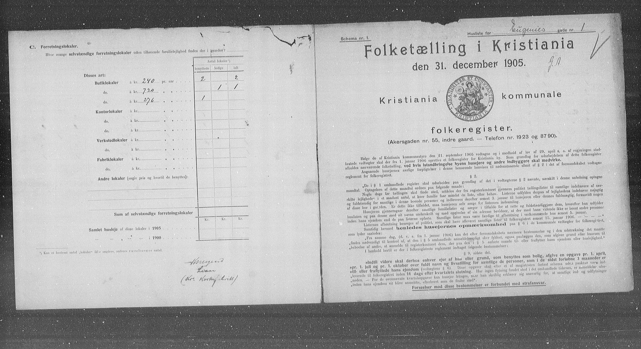 OBA, Municipal Census 1905 for Kristiania, 1905, p. 11718