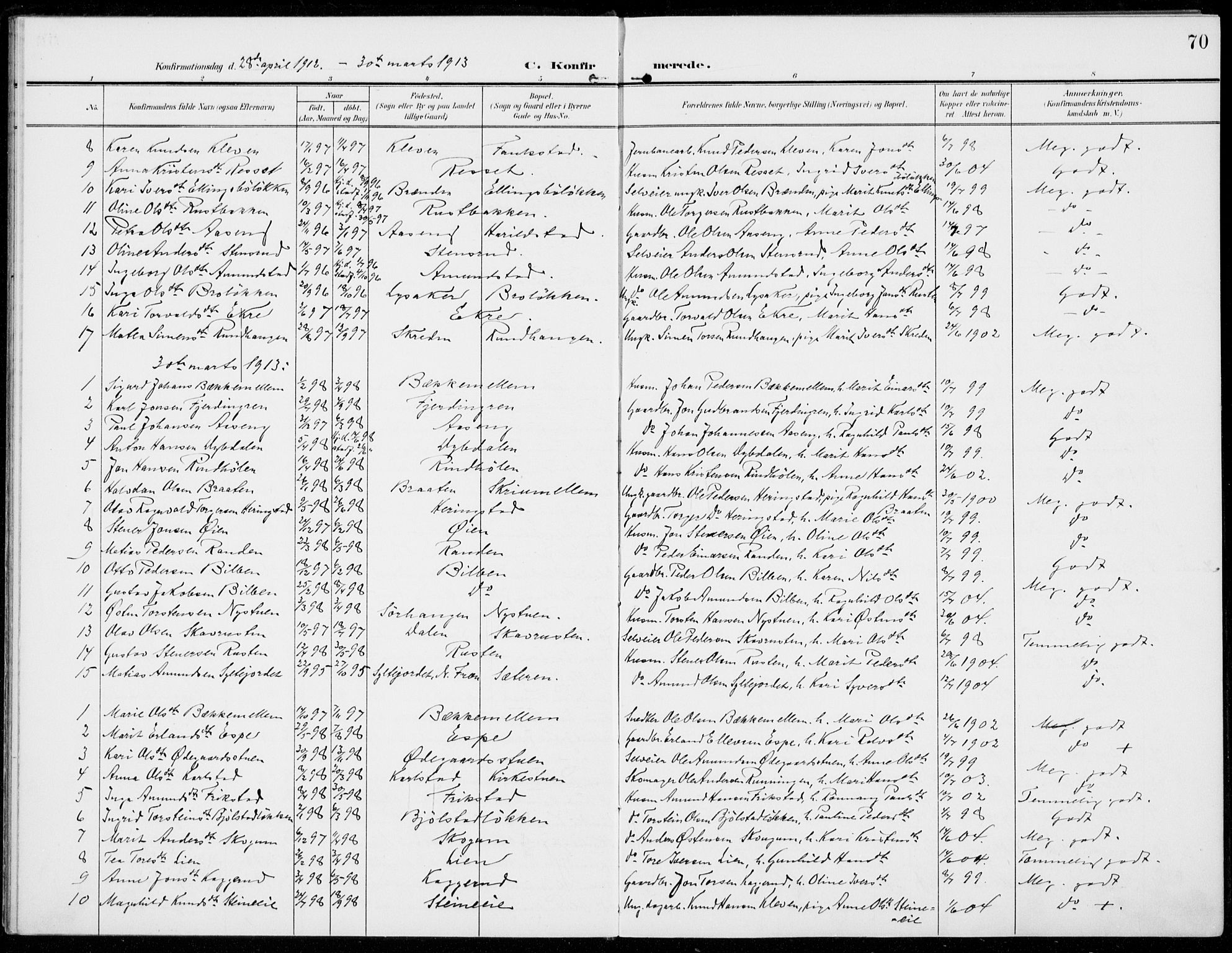 SAH, Sel prestekontor, Parish register (official) no. 1, 1905-1922, p. 70