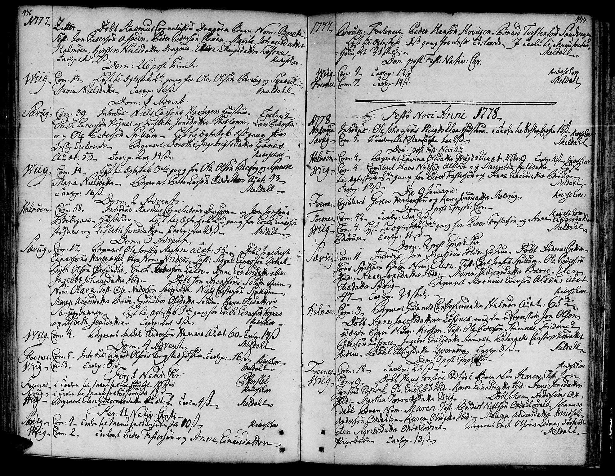SAT, Ministerialprotokoller, klokkerbøker og fødselsregistre - Nord-Trøndelag, 773/L0607: Parish register (official) no. 773A01, 1751-1783, p. 476-477