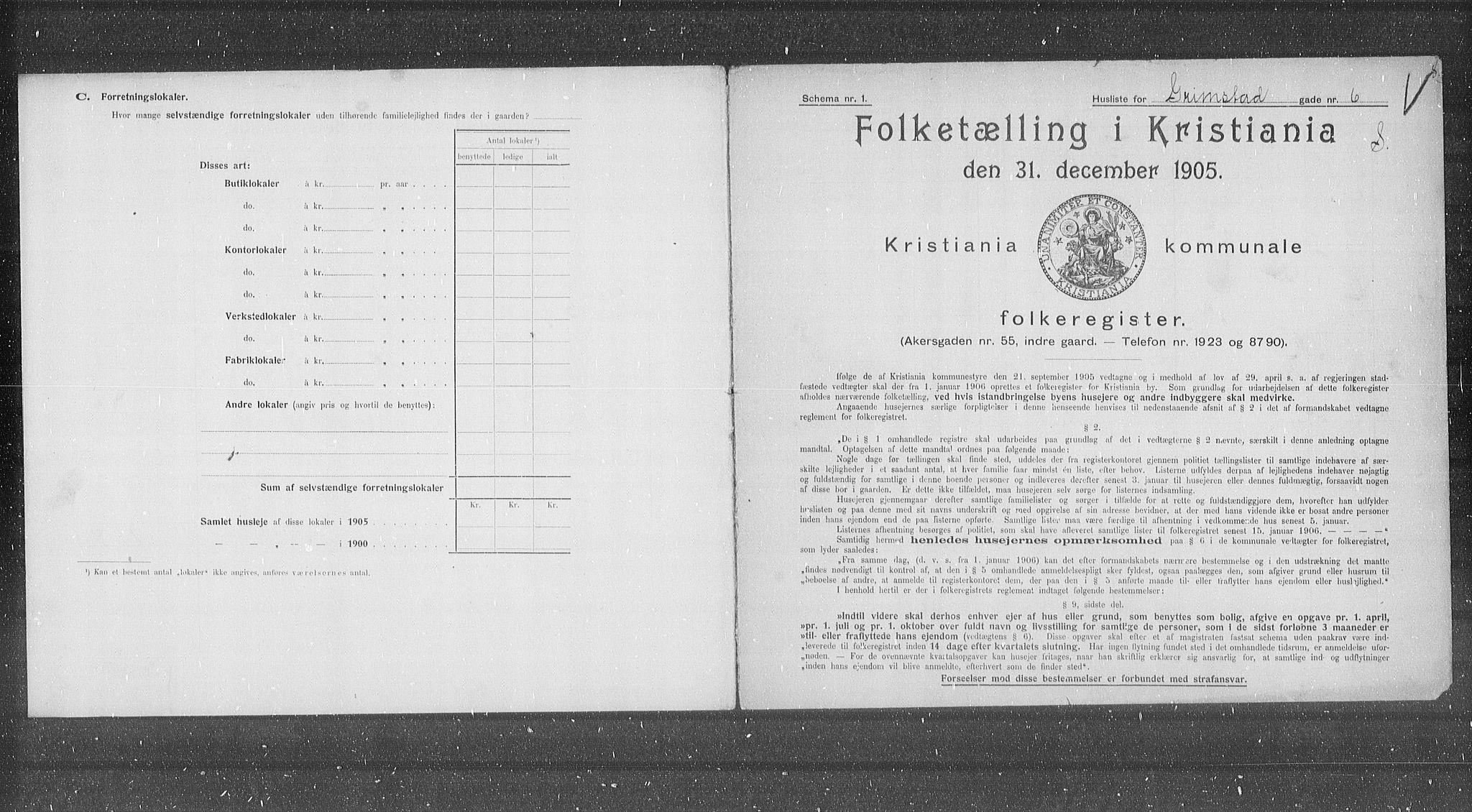 OBA, Municipal Census 1905 for Kristiania, 1905, p. 15498