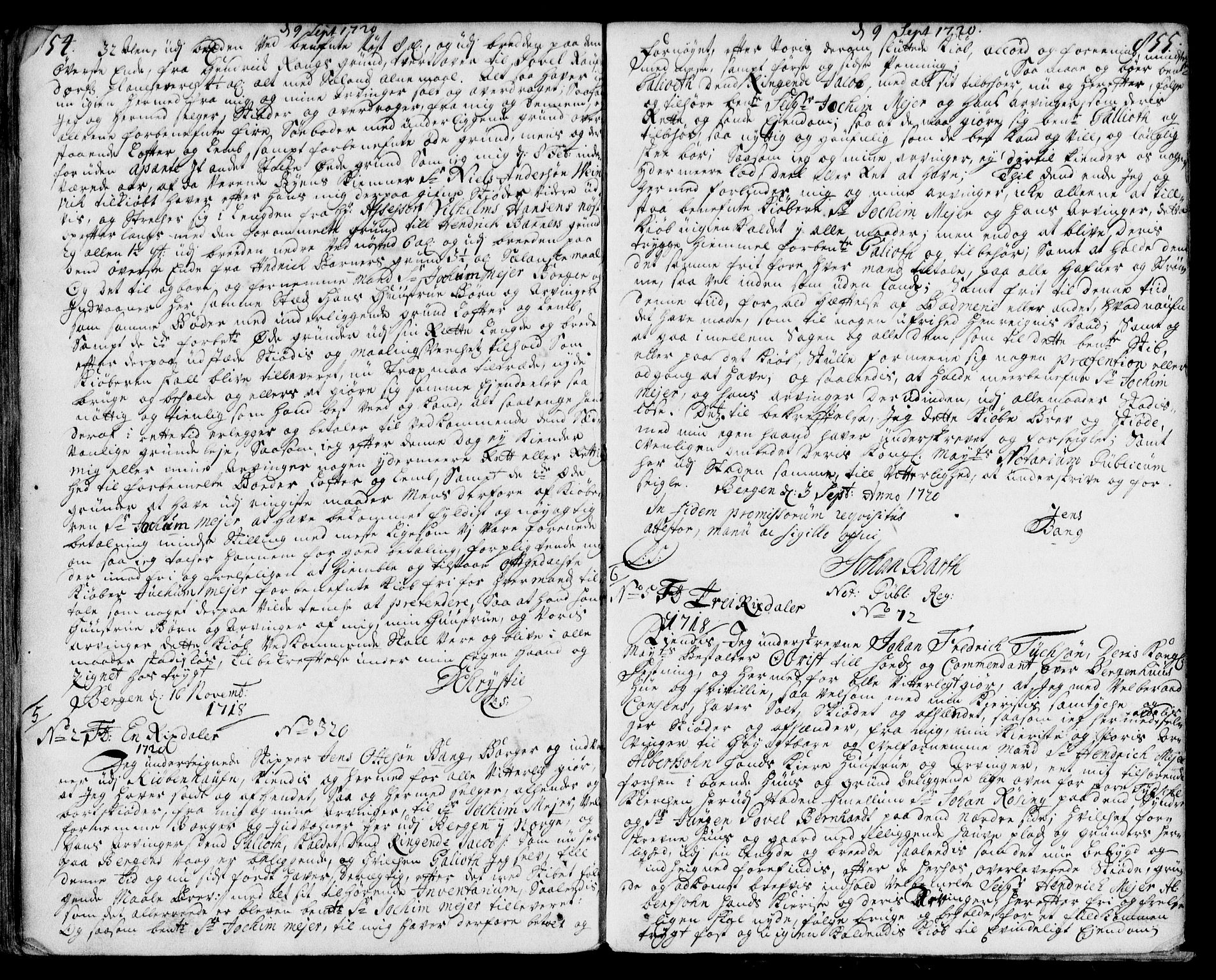 SAB, Byfogd og Byskriver i Bergen, 03/03Ba/L0008a: Mortgage book no. II.B.a.8, 1714-1720, p. 854-855