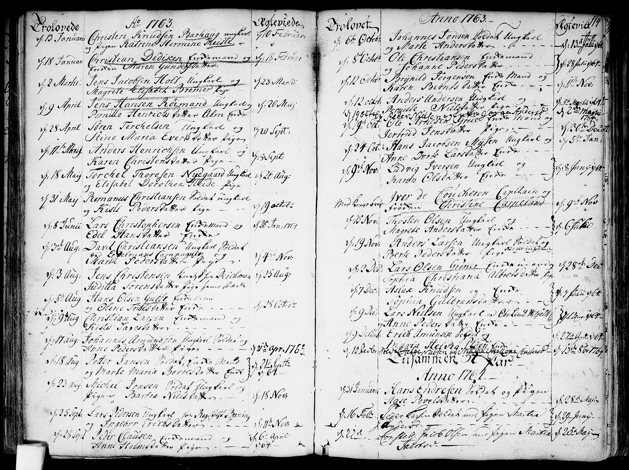 SAO, Garnisonsmenigheten Kirkebøker, F/Fa/L0002: Parish register (official) no. 2, 1757-1776, p. 114