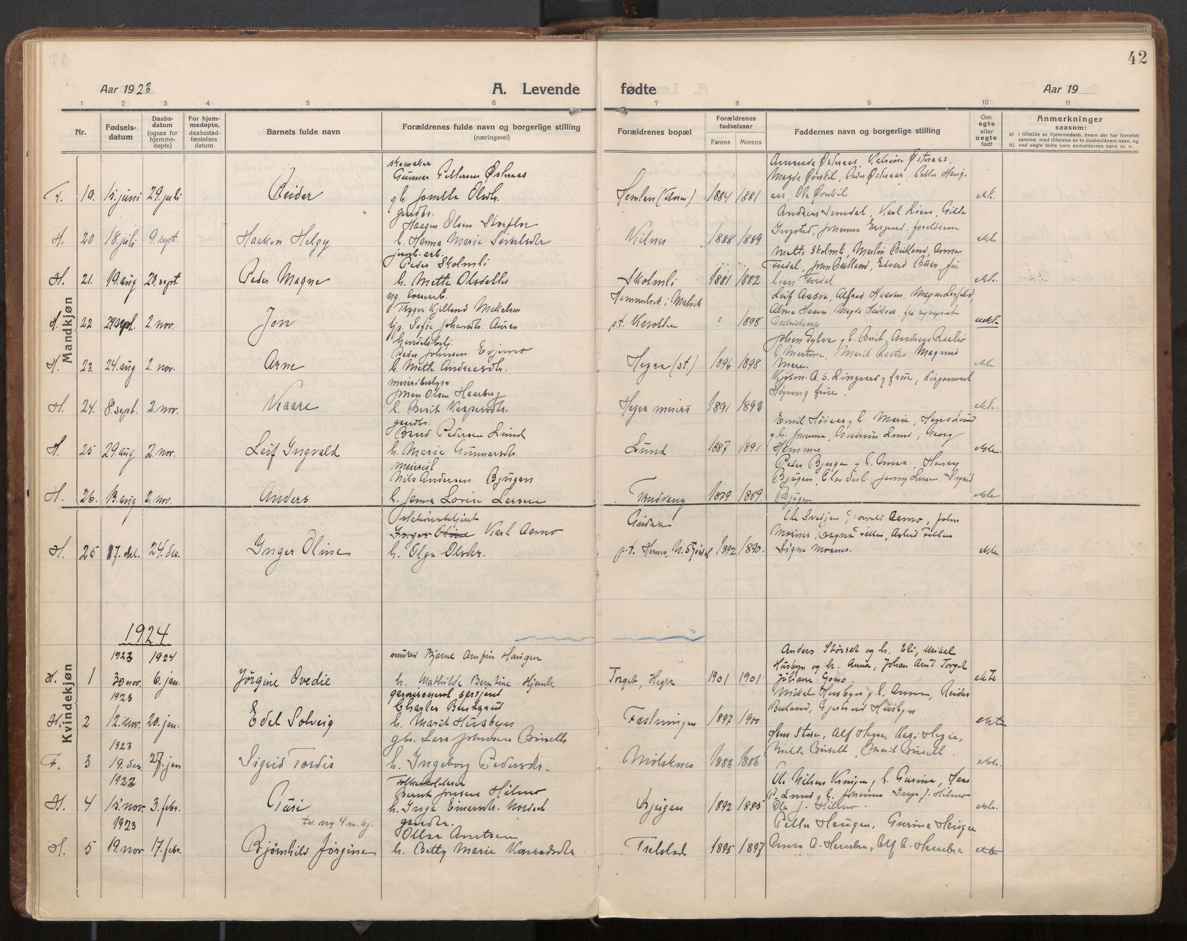SAT, Ministerialprotokoller, klokkerbøker og fødselsregistre - Nord-Trøndelag, 703/L0037: Parish register (official) no. 703A10, 1915-1932, p. 42