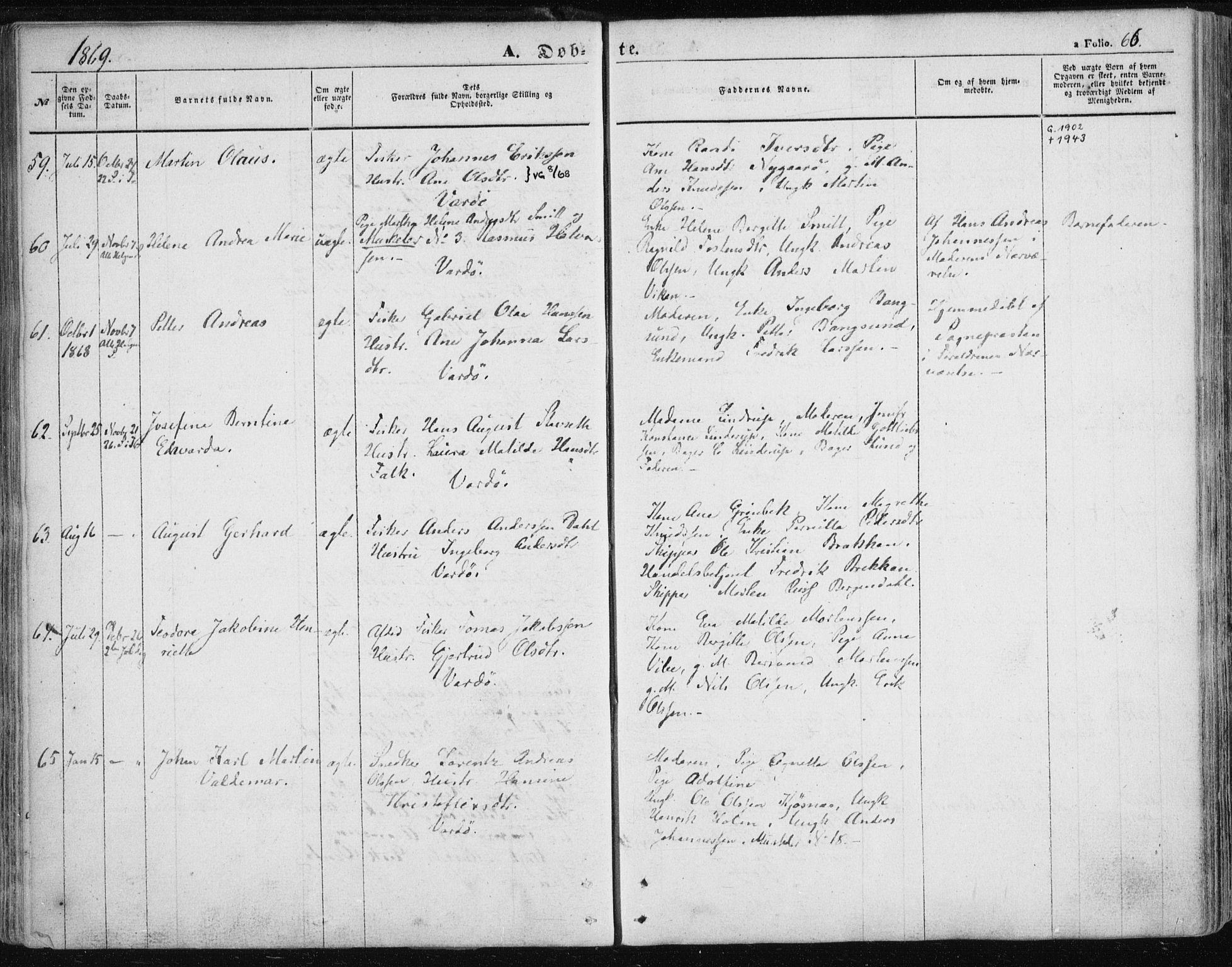 SATØ, Vardø sokneprestkontor, H/Ha/L0004kirke: Parish register (official) no. 4, 1862-1871, p. 66