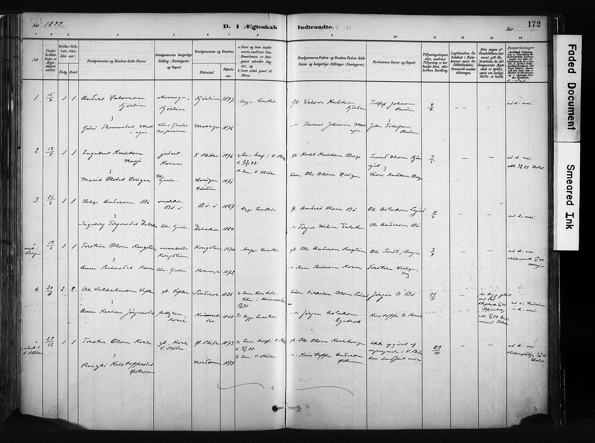 SAH, Vang prestekontor, Valdres, Parish register (official) no. 8, 1882-1910, p. 172