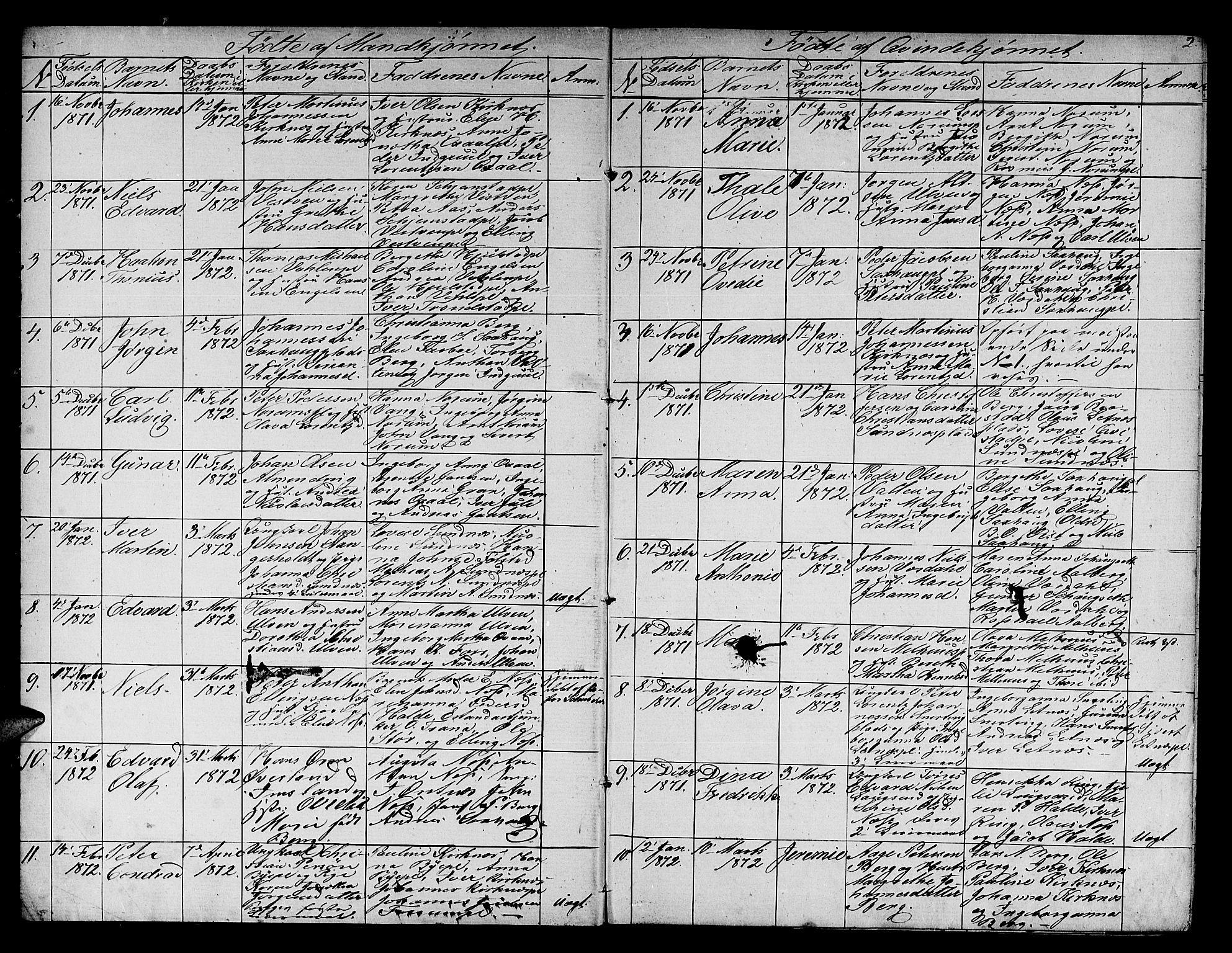 SAT, Ministerialprotokoller, klokkerbøker og fødselsregistre - Nord-Trøndelag, 730/L0300: Parish register (copy) no. 730C03, 1872-1879, p. 2
