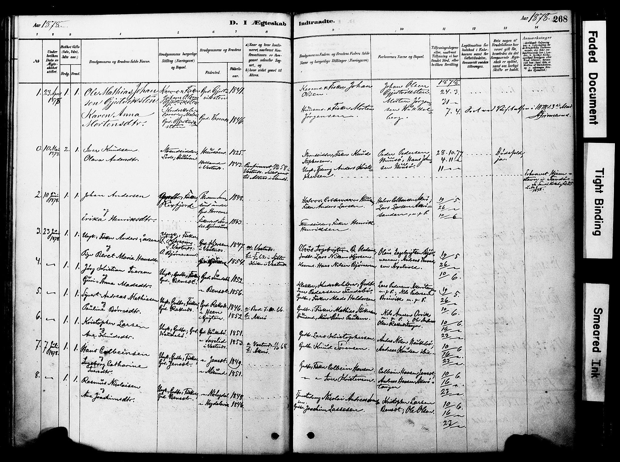 SAT, Ministerialprotokoller, klokkerbøker og fødselsregistre - Møre og Romsdal, 560/L0721: Parish register (official) no. 560A05, 1878-1917, p. 268