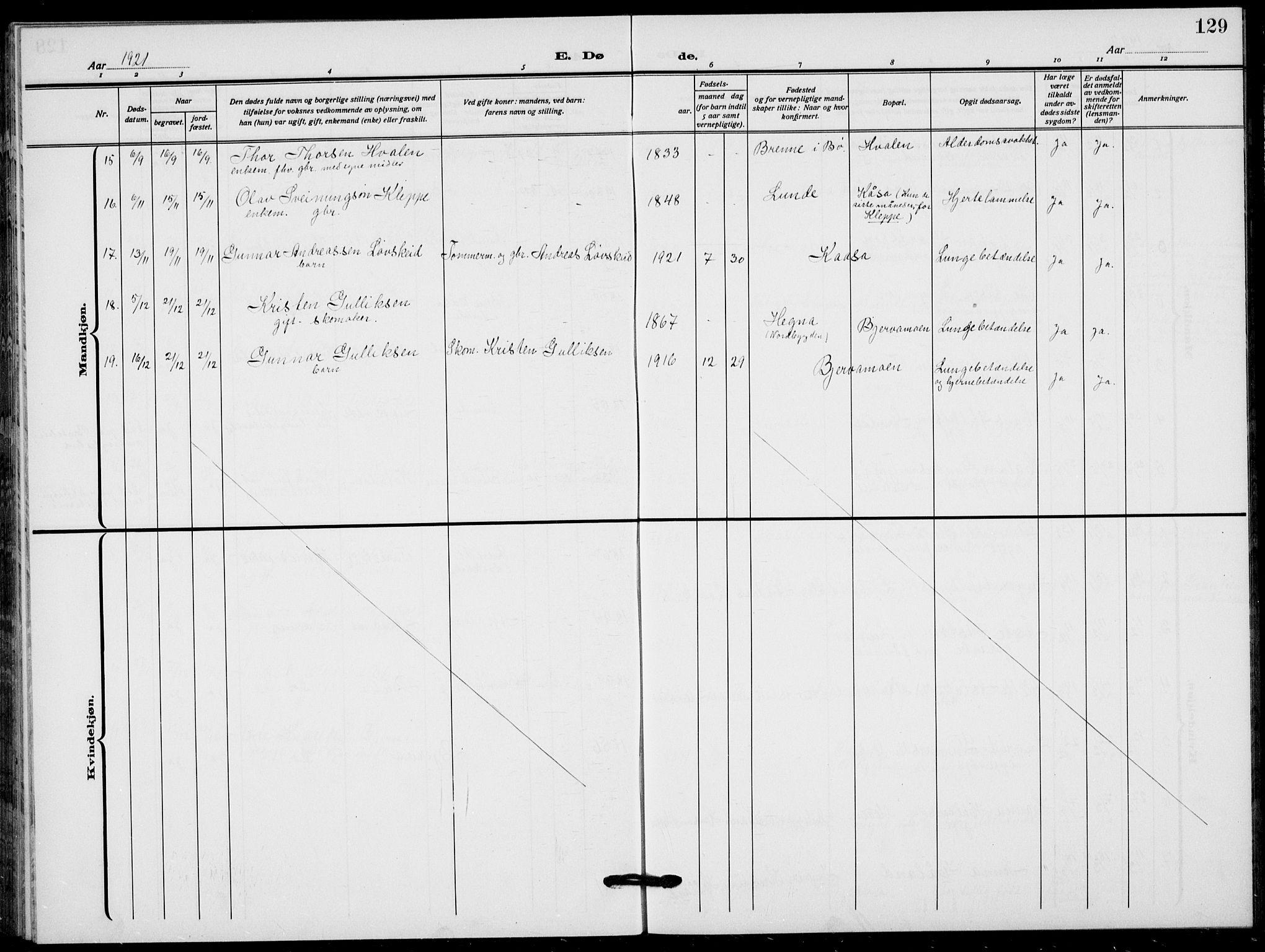 SAKO, Lunde kirkebøker, F/Fa/L0005: Parish register (official) no. I 5, 1914-1922, p. 129