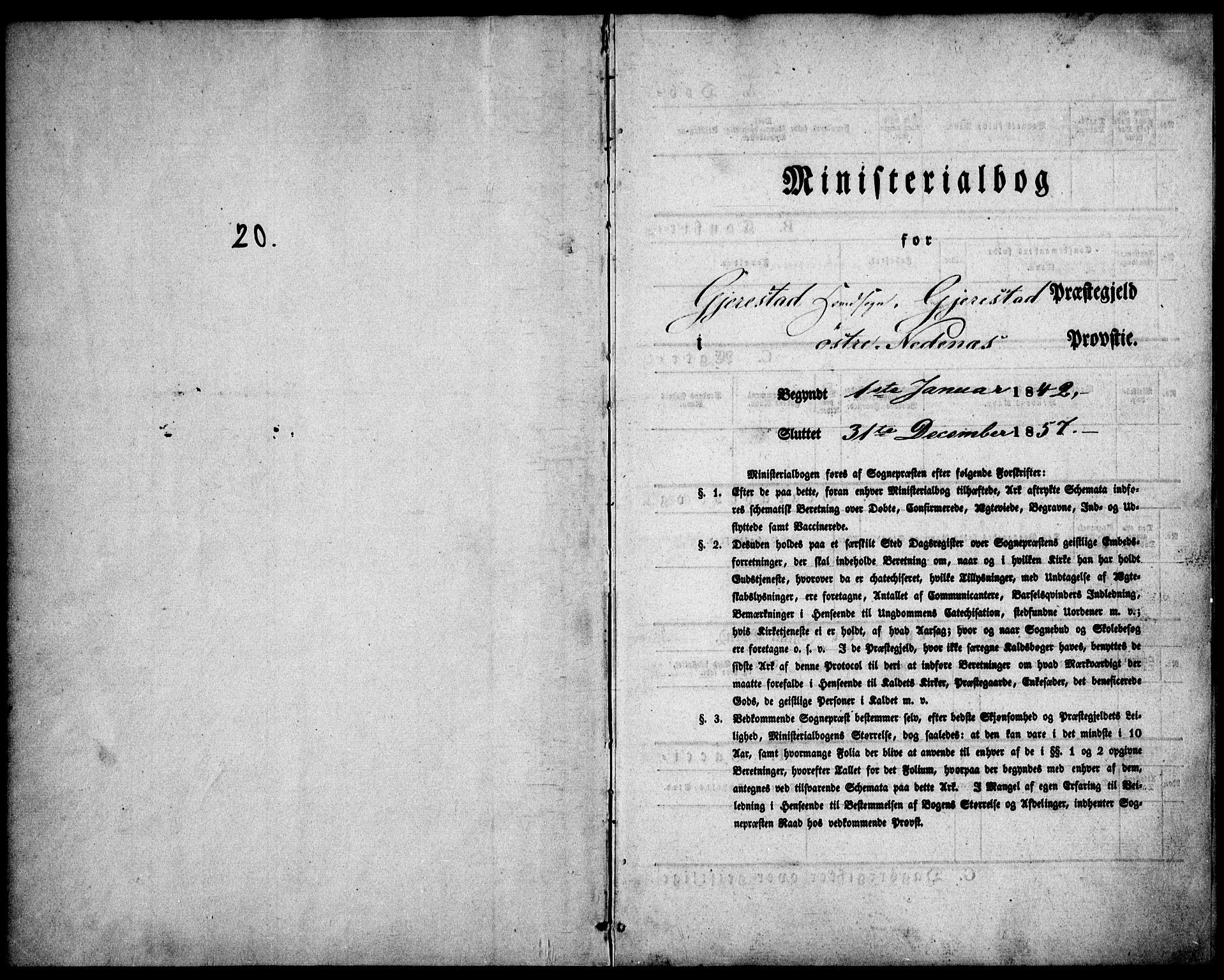 SAK, Gjerstad sokneprestkontor, F/Fa/Faa/L0006: Parish register (official) no. A 6, 1841-1857