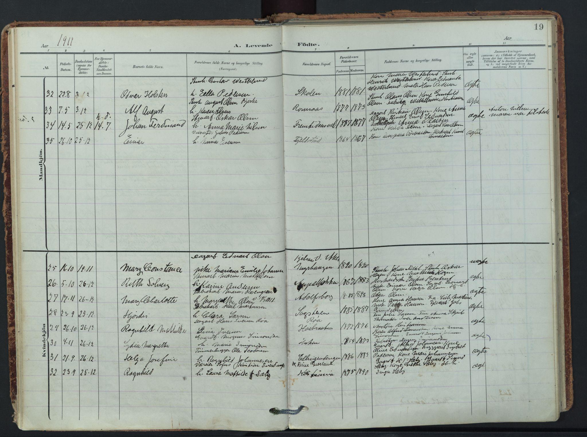 SAO, Østre Aker prestekontor Kirkebøker, F/Fb/L0001: Parish register (official) no. II 1, 1906-1931, p. 19