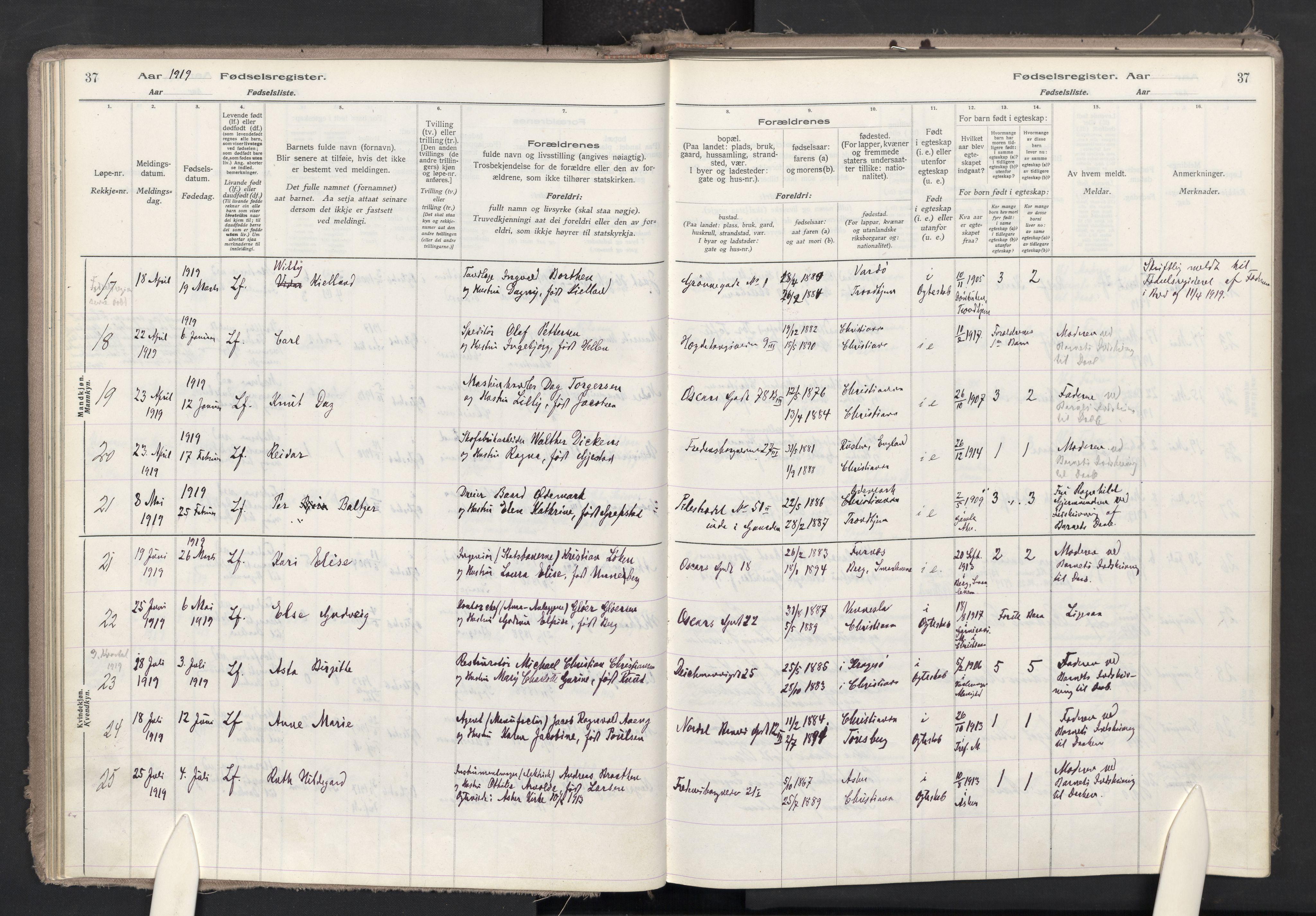 SAO, Trefoldighet prestekontor Kirkebøker, J/Ja/L0001: Birth register no. 1, 1916-1931, p. 37