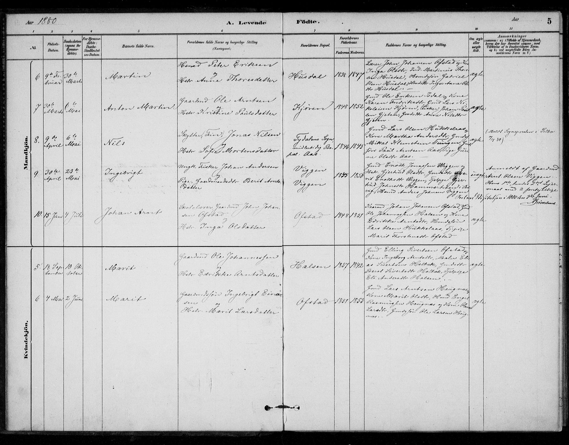 SAT, Ministerialprotokoller, klokkerbøker og fødselsregistre - Sør-Trøndelag, 670/L0836: Parish register (official) no. 670A01, 1879-1904, p. 5