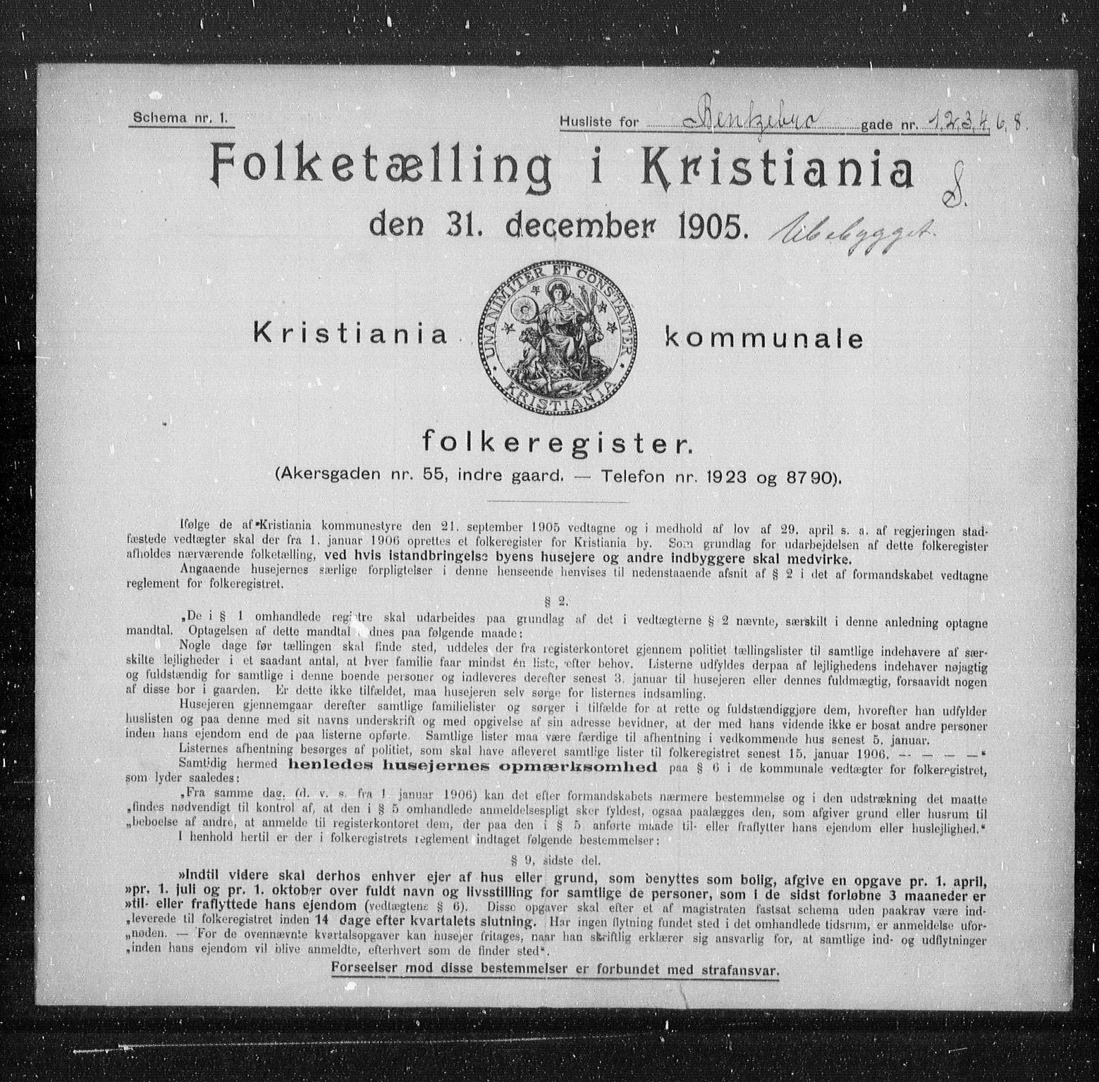 OBA, Municipal Census 1905 for Kristiania, 1905, p. 1765