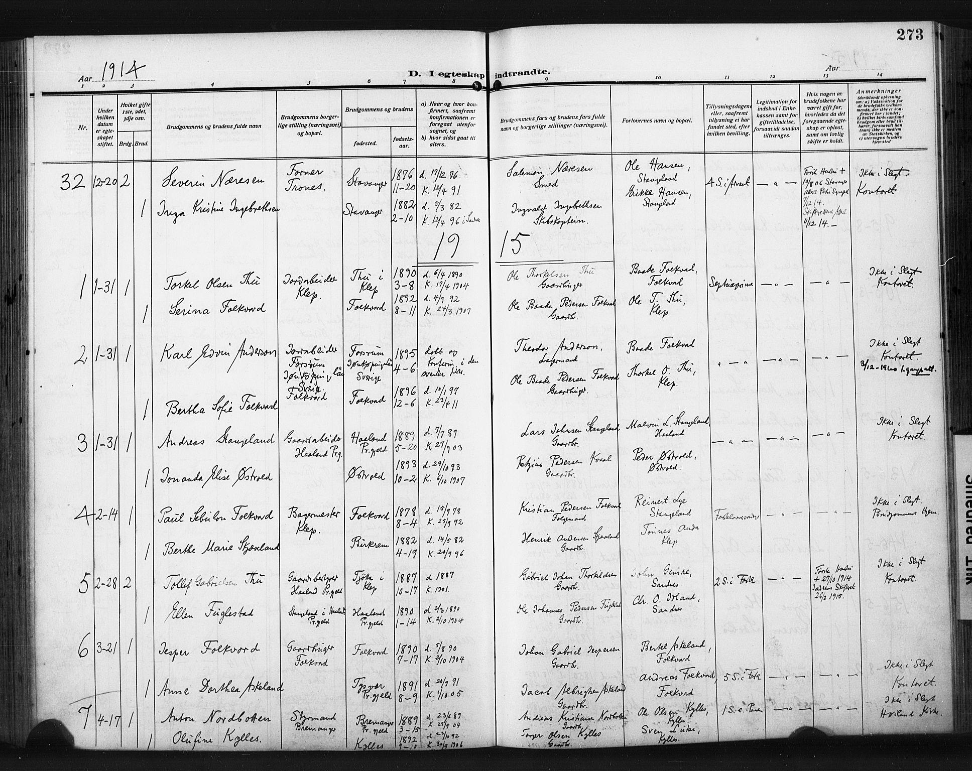 SAST, Høyland sokneprestkontor, 30BA/L0017: Parish register (official) no. A 15, 1912-1924, p. 273