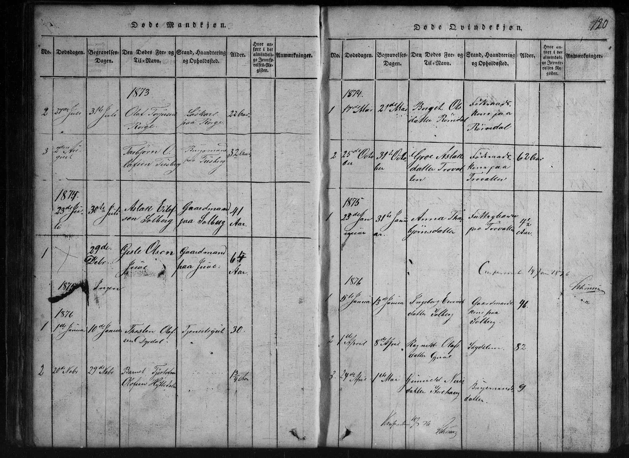 SAKO, Rauland kirkebøker, G/Gb/L0001: Parish register (copy) no. II 1, 1815-1886, p. 120