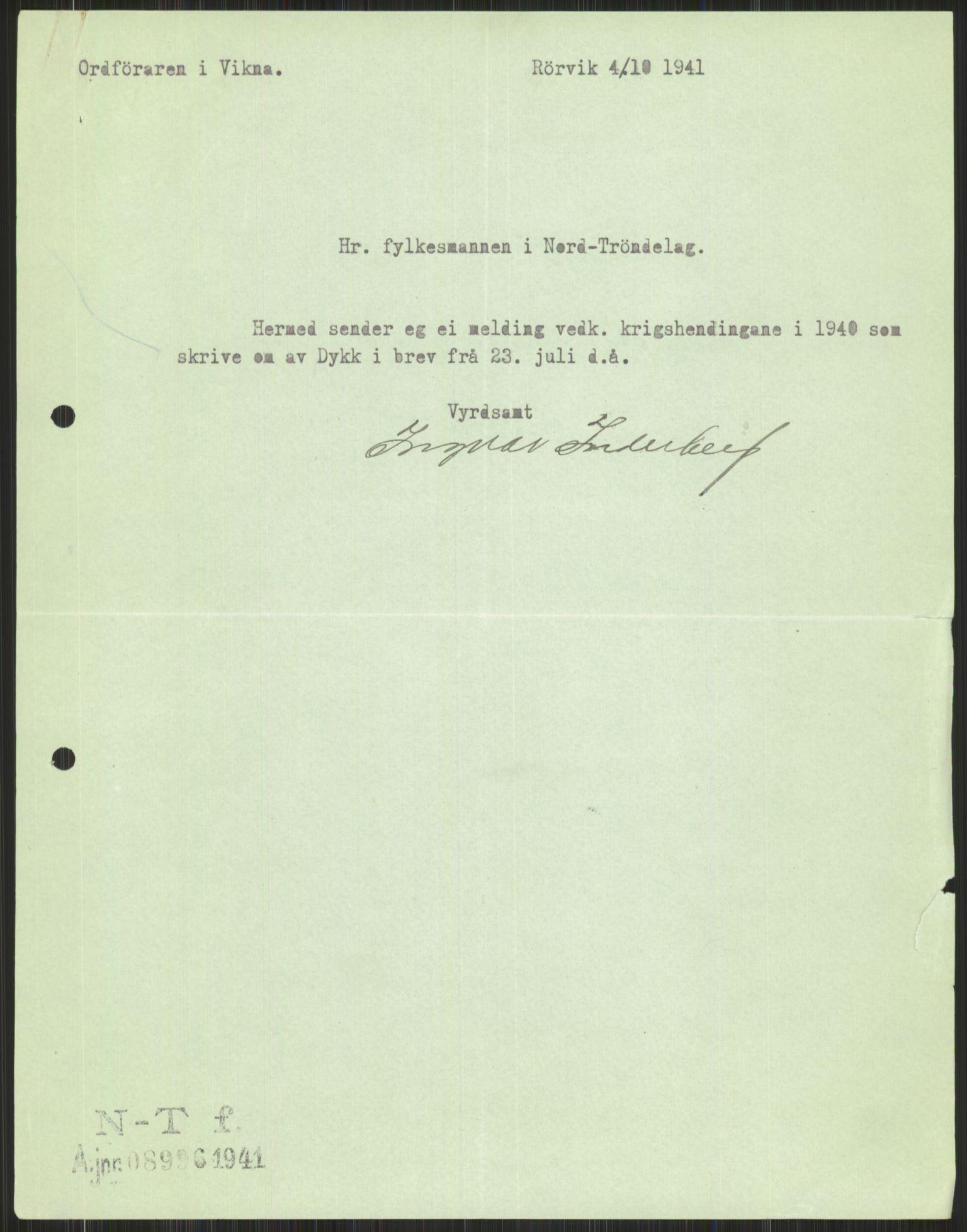 RA, Forsvaret, Forsvarets krigshistoriske avdeling, Y/Ya/L0016: II-C-11-31 - Fylkesmenn.  Rapporter om krigsbegivenhetene 1940., 1940, p. 604