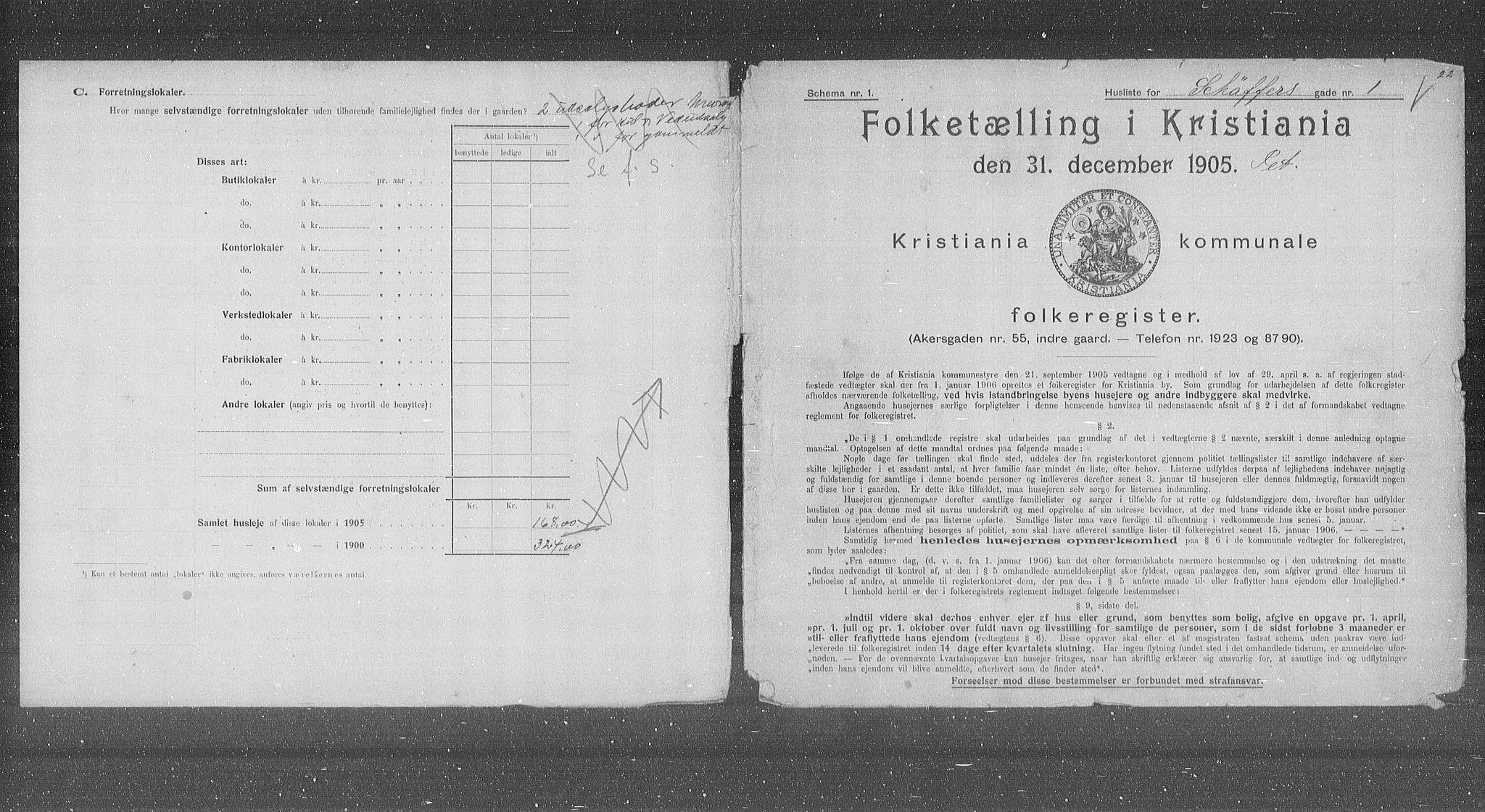 OBA, Municipal Census 1905 for Kristiania, 1905, p. 48298