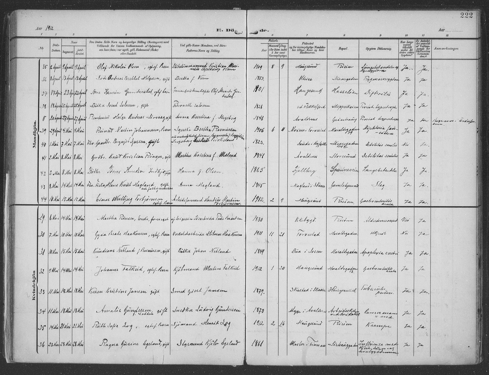 SAST, Haugesund sokneprestkontor, H/Ha/Haa/L0007: Parish register (official) no. A 7, 1904-1916, p. 222