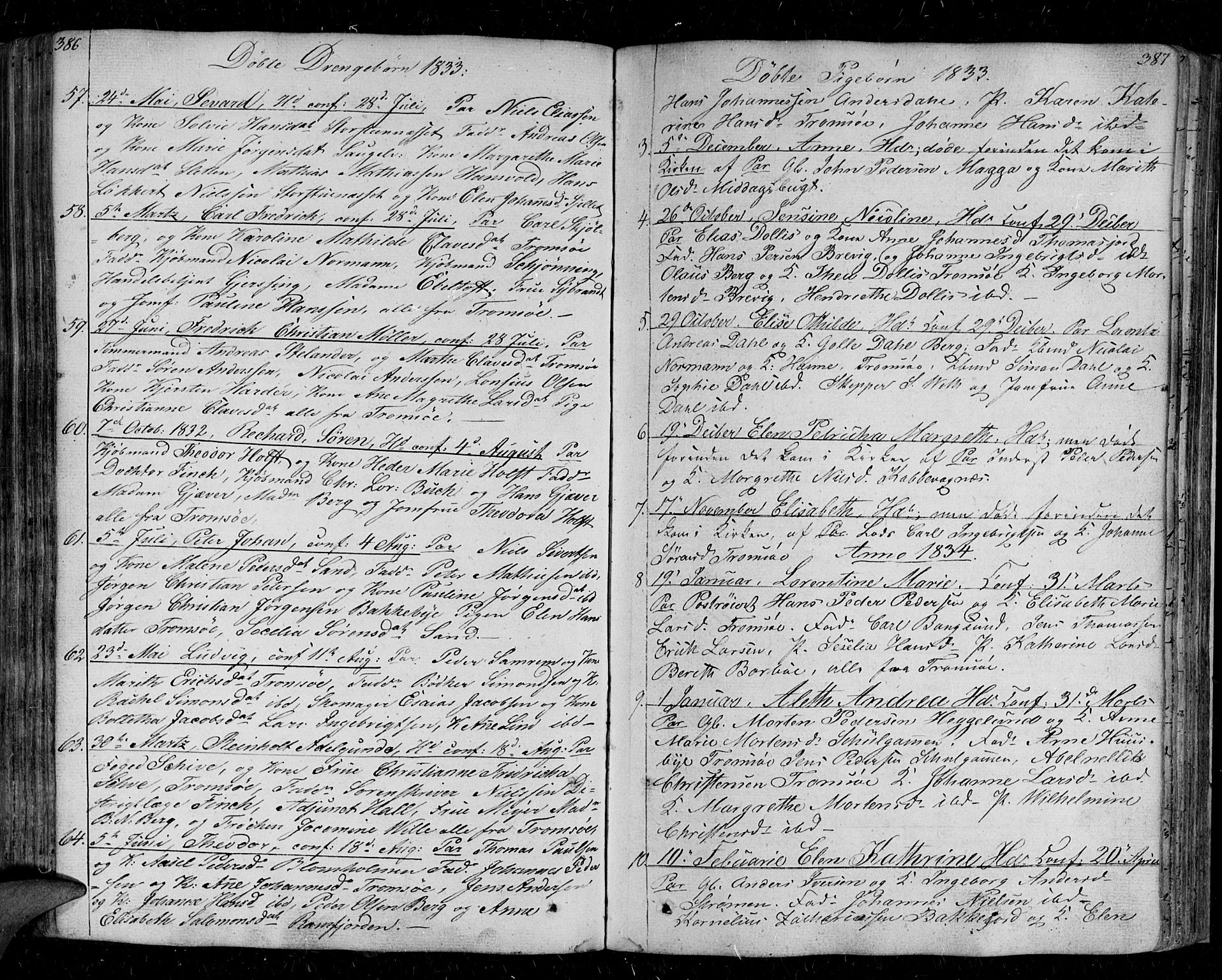SATØ, Tromsø sokneprestkontor/stiftsprosti/domprosti, G/Ga/L0008kirke: Parish register (official) no. 8, 1829-1837, p. 386-387