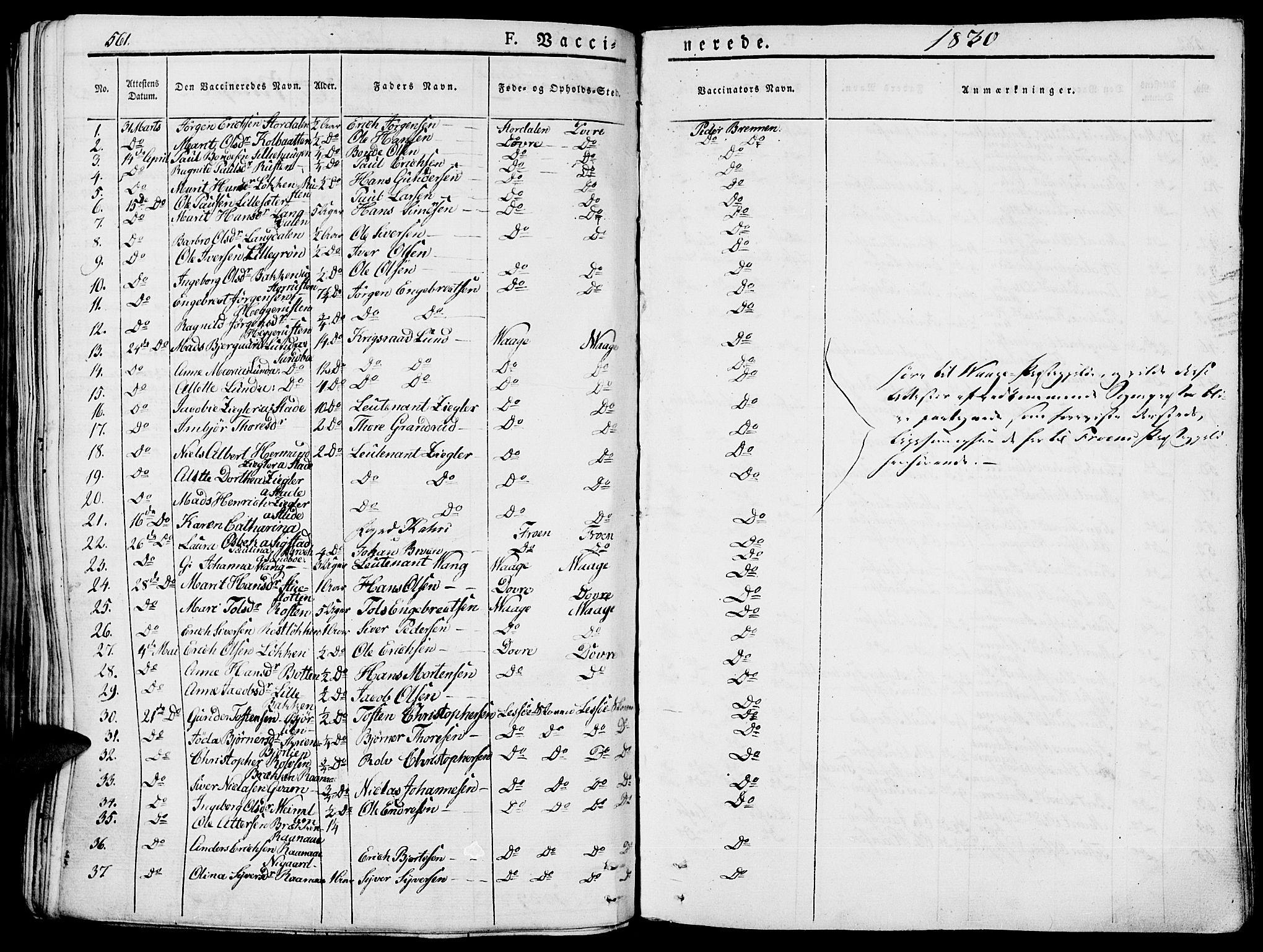 SAH, Lesja prestekontor, Parish register (official) no. 5, 1830-1842, p. 561