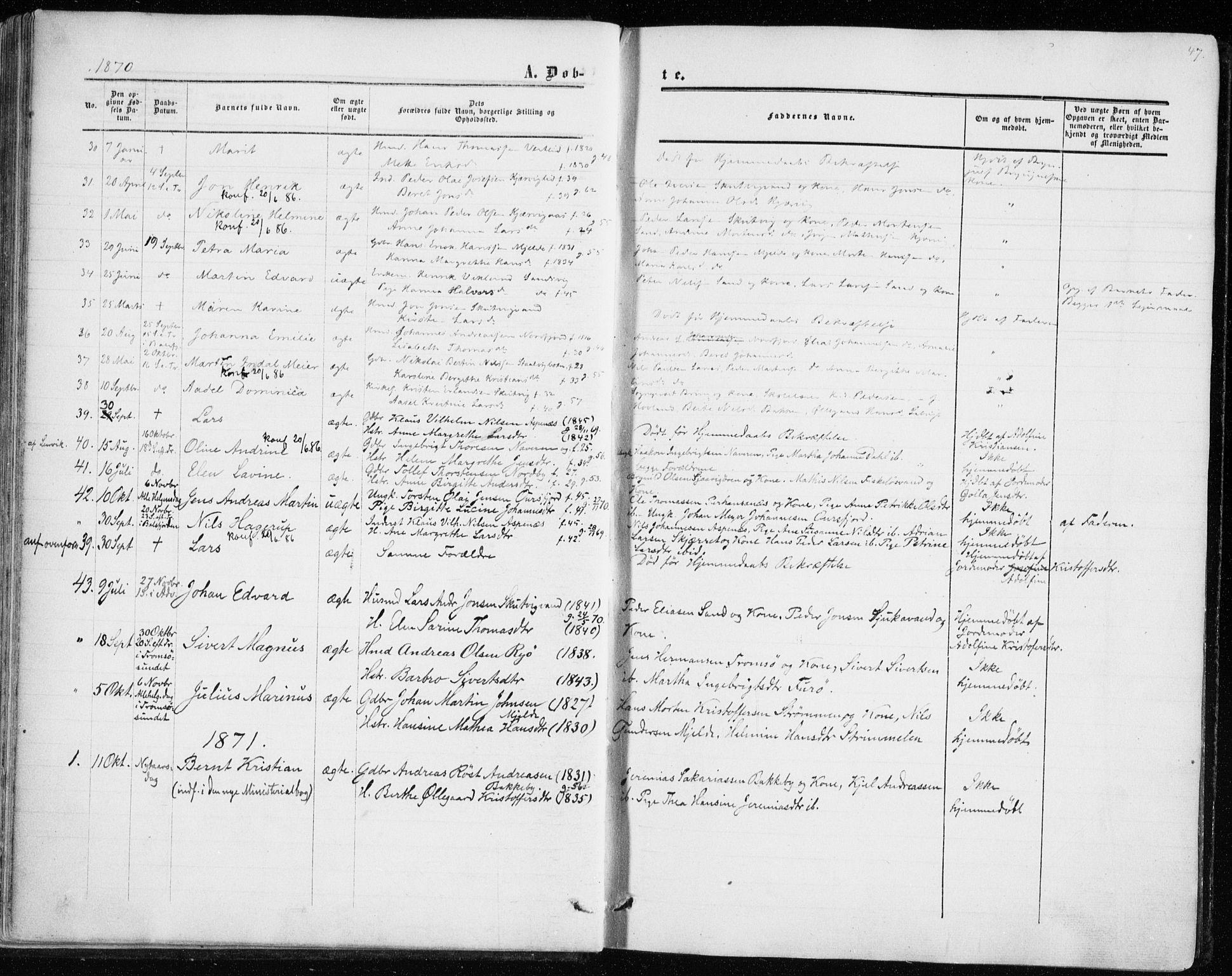 SATØ, Balsfjord sokneprestembete, Parish register (official) no. 1, 1858-1870, p. 47