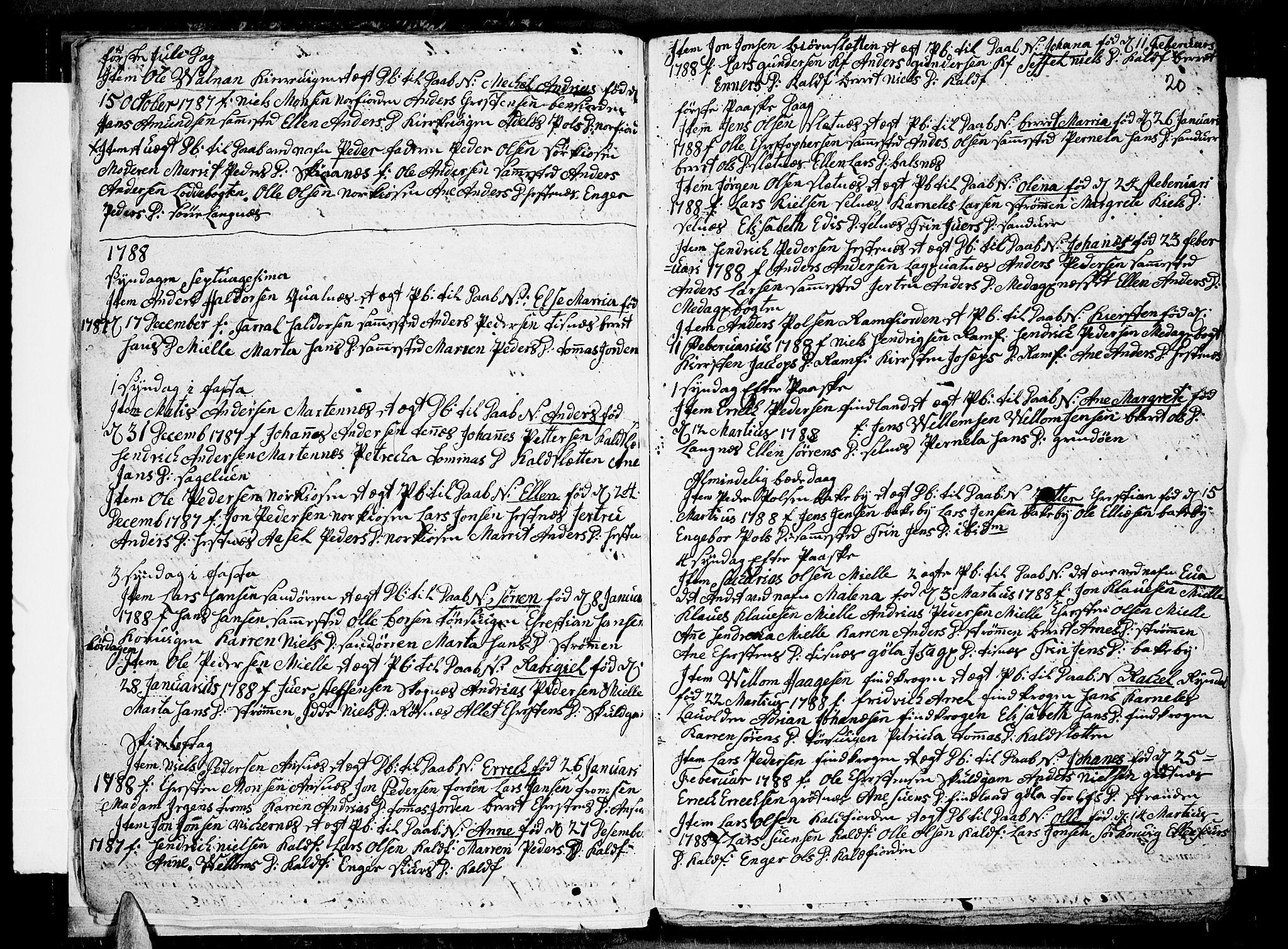 SATØ, Tromsø sokneprestkontor/stiftsprosti/domprosti, G/Ga/L0004kirke: Parish register (official) no. 4, 1787-1795, p. 20