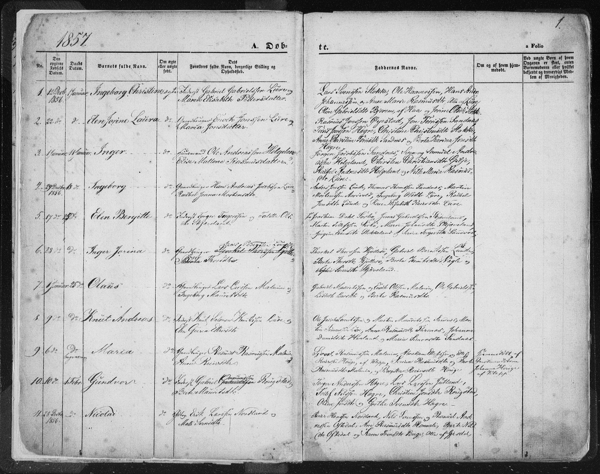 SAST, Høyland sokneprestkontor, 30BA/L0010: Parish register (official) no. A 9.1, 1857-1877, p. 1