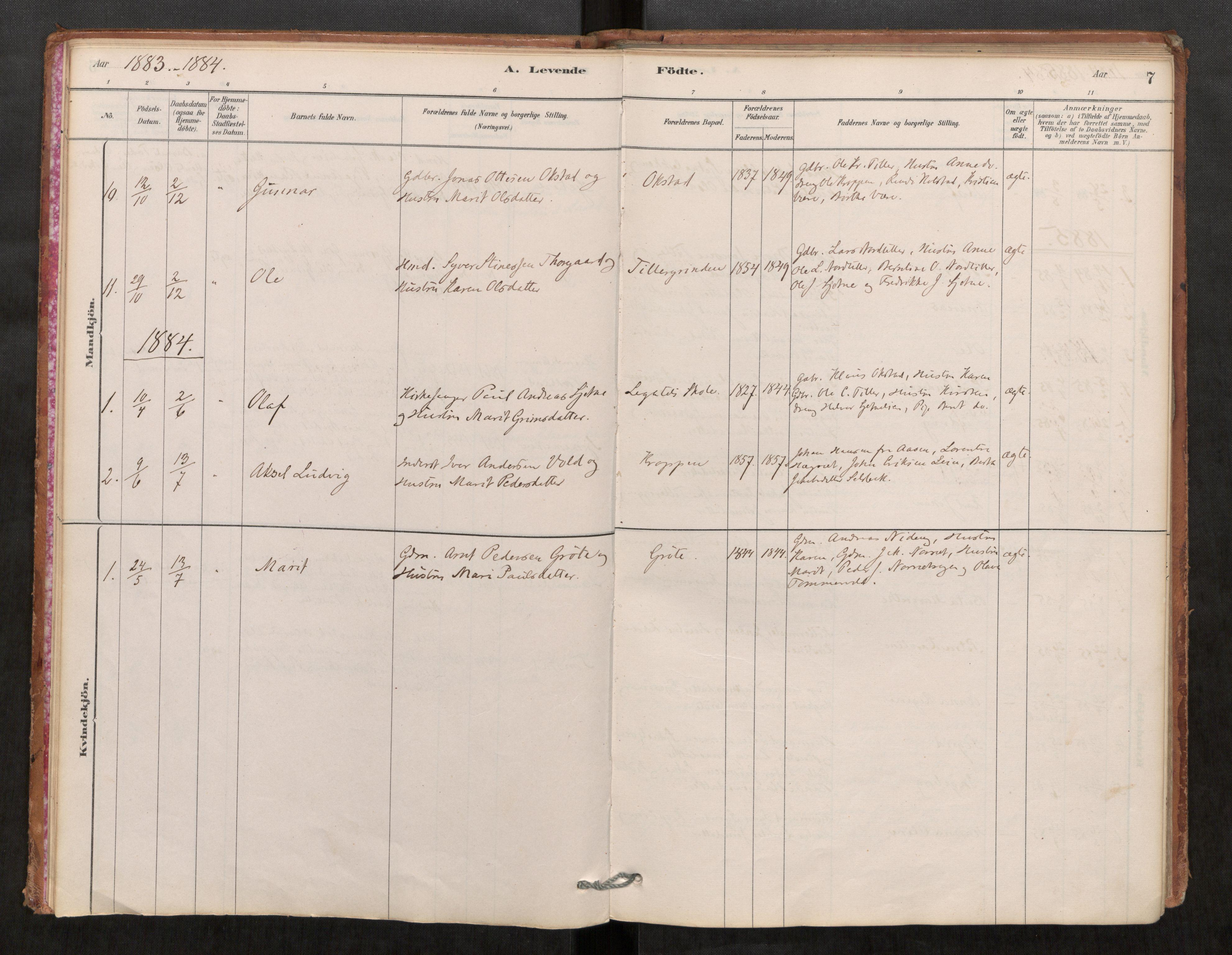 SAT, Klæbu sokneprestkontor, Parish register (official) no. 1, 1880-1900, p. 7
