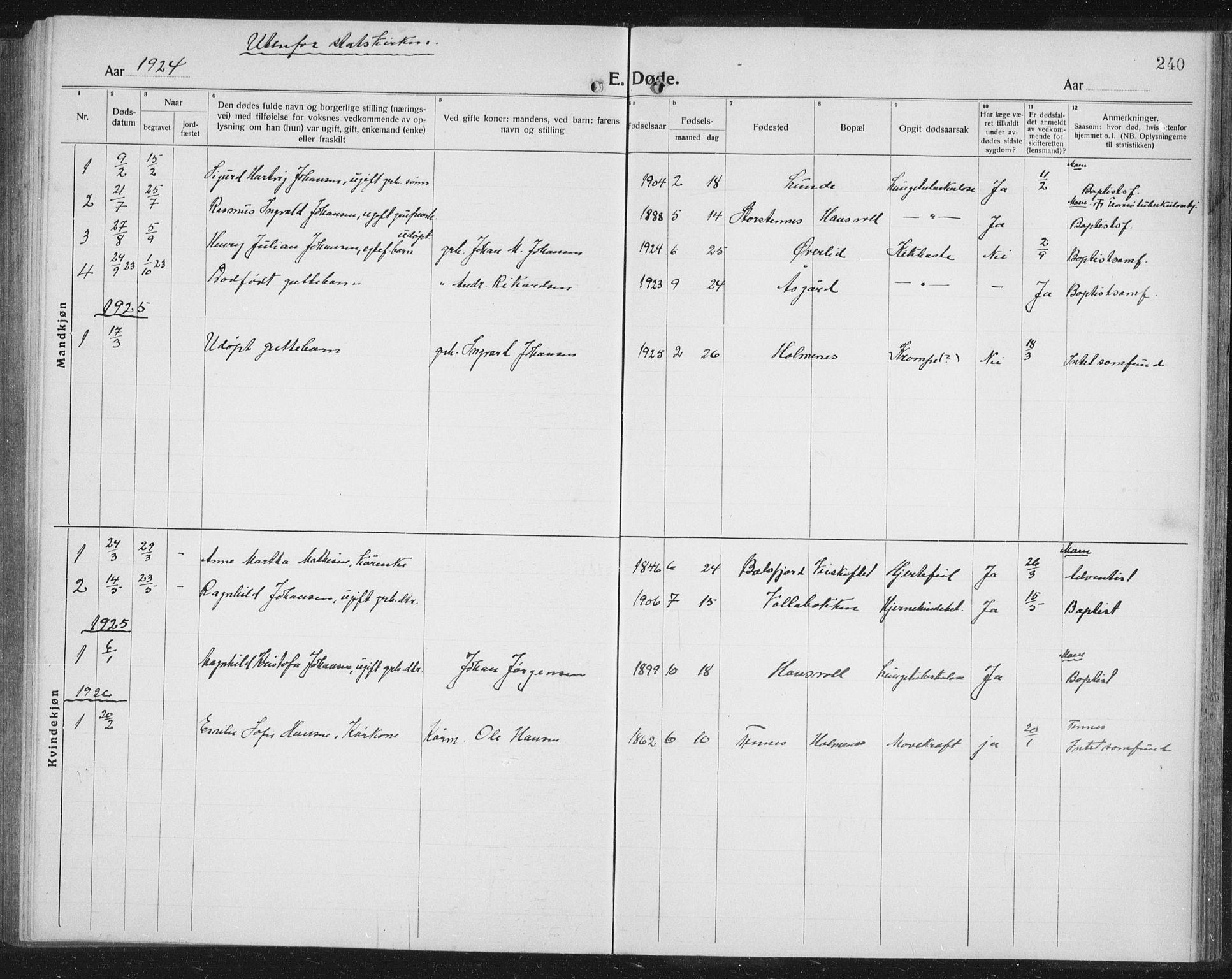 SATØ, Balsfjord sokneprestembete, Parish register (copy) no. 10, 1921-1936, p. 240