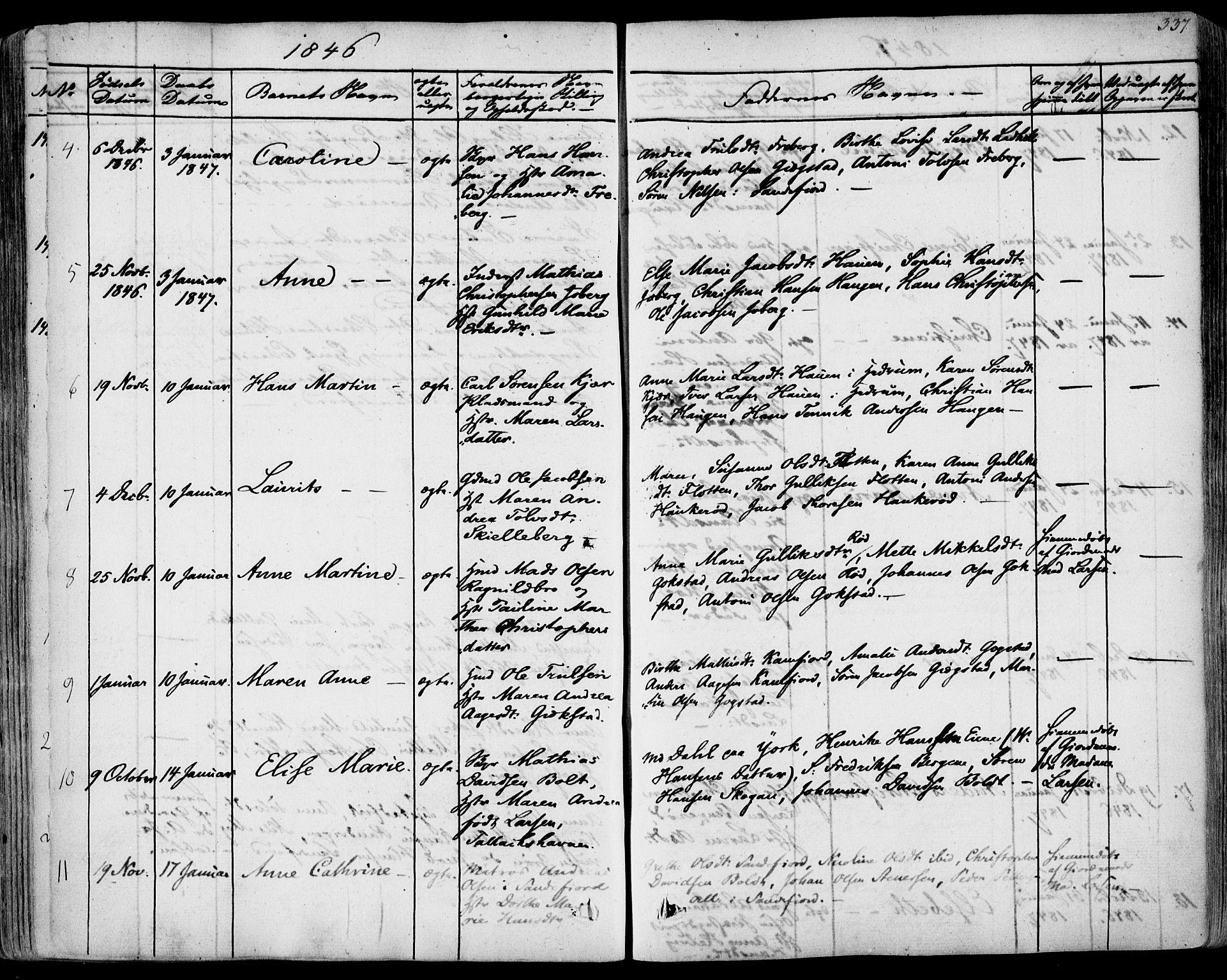 SAKO, Sandar kirkebøker, F/Fa/L0005: Parish register (official) no. 5, 1832-1847, p. 336-337