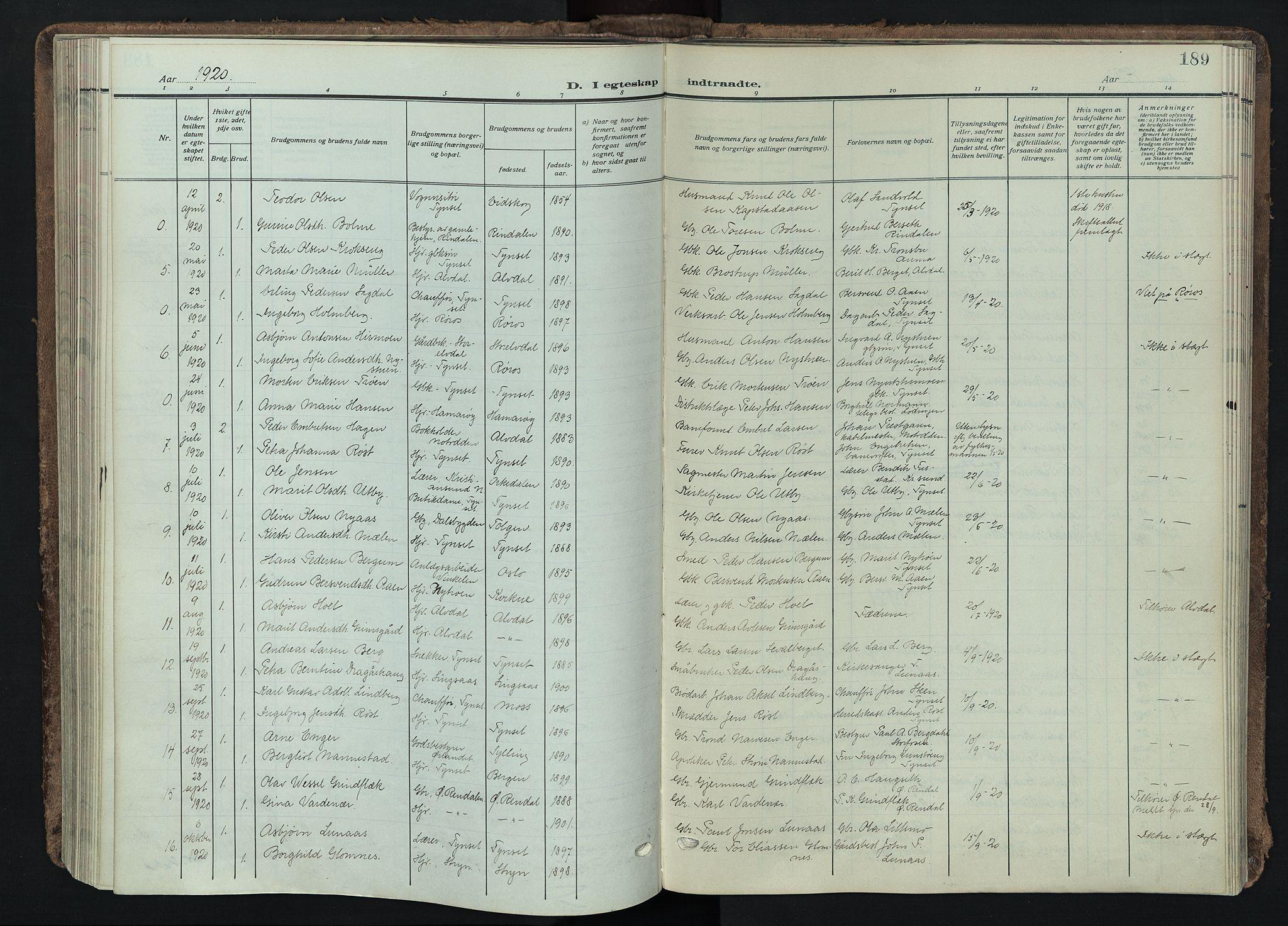 SAH, Tynset prestekontor, Parish register (official) no. 26, 1915-1929, p. 189