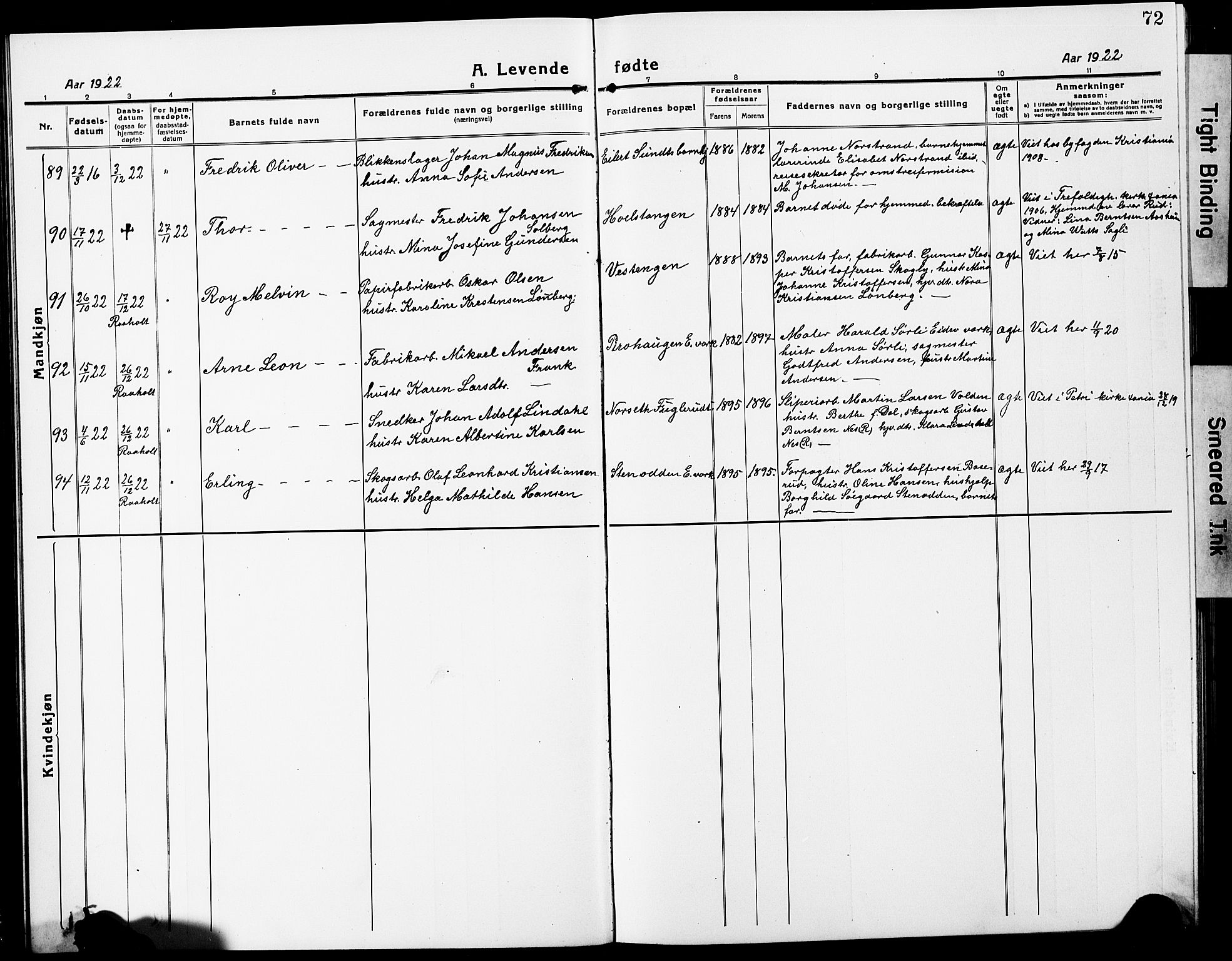 SAO, Eidsvoll prestekontor Kirkebøker, G/Ga/L0010: Parish register (copy) no. I 10, 1919-1929, p. 72