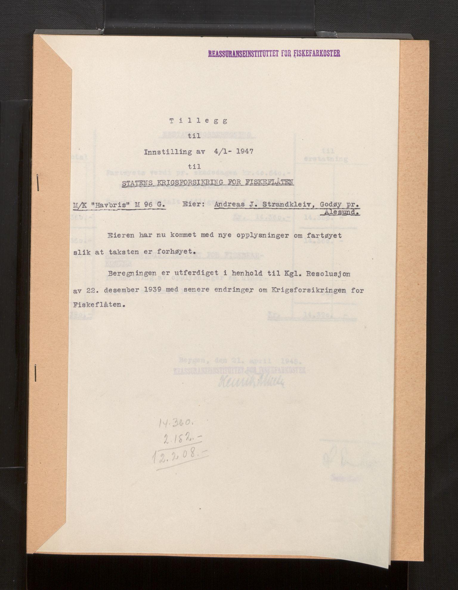 SAB, Fiskeridirektoratet - 1 Adm. ledelse - 13 Båtkontoret, La/L0042: Statens krigsforsikring for fiskeflåten, 1936-1971, p. 184