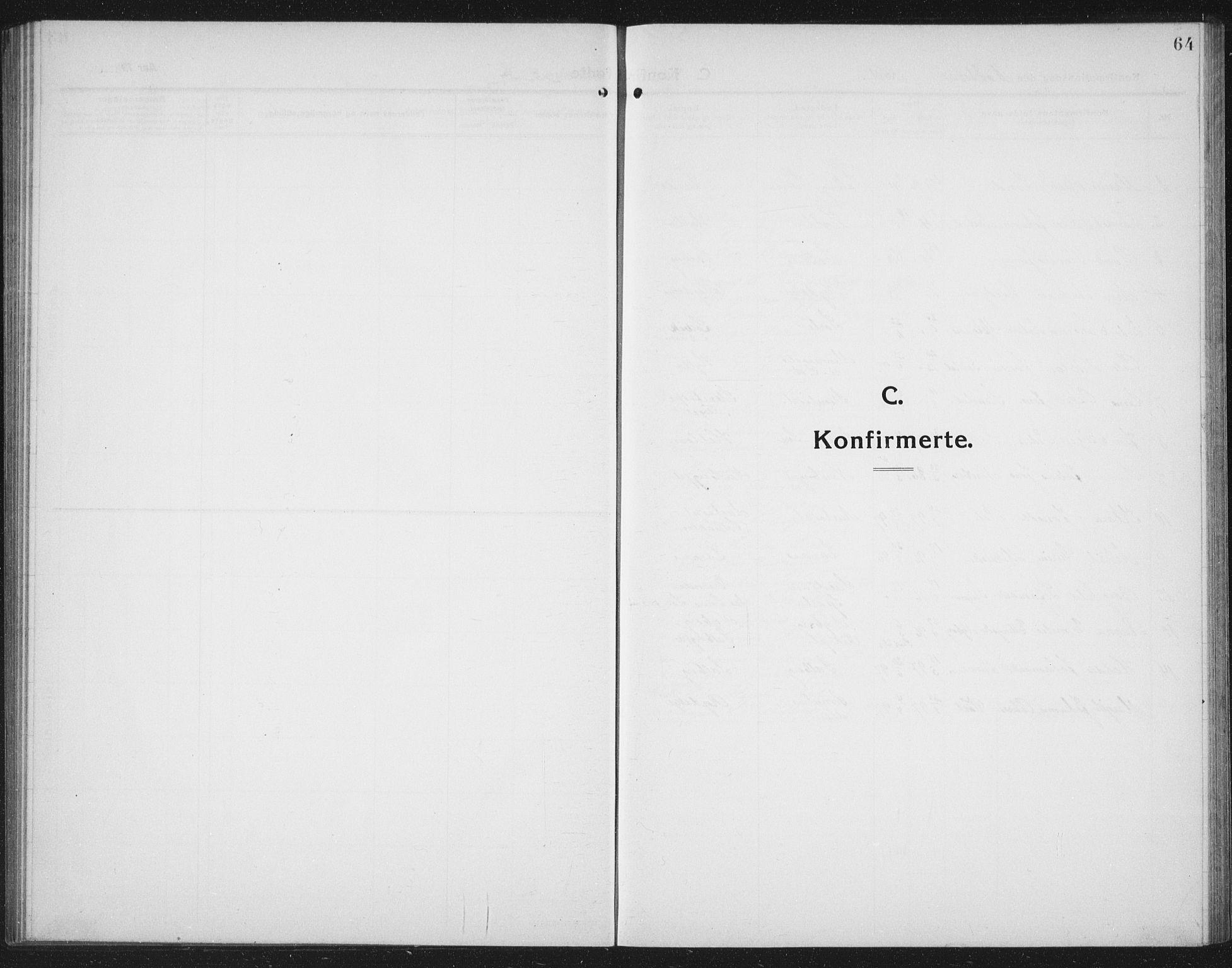 SAT, Ministerialprotokoller, klokkerbøker og fødselsregistre - Nord-Trøndelag, 731/L0312: Parish register (copy) no. 731C03, 1911-1935, p. 64