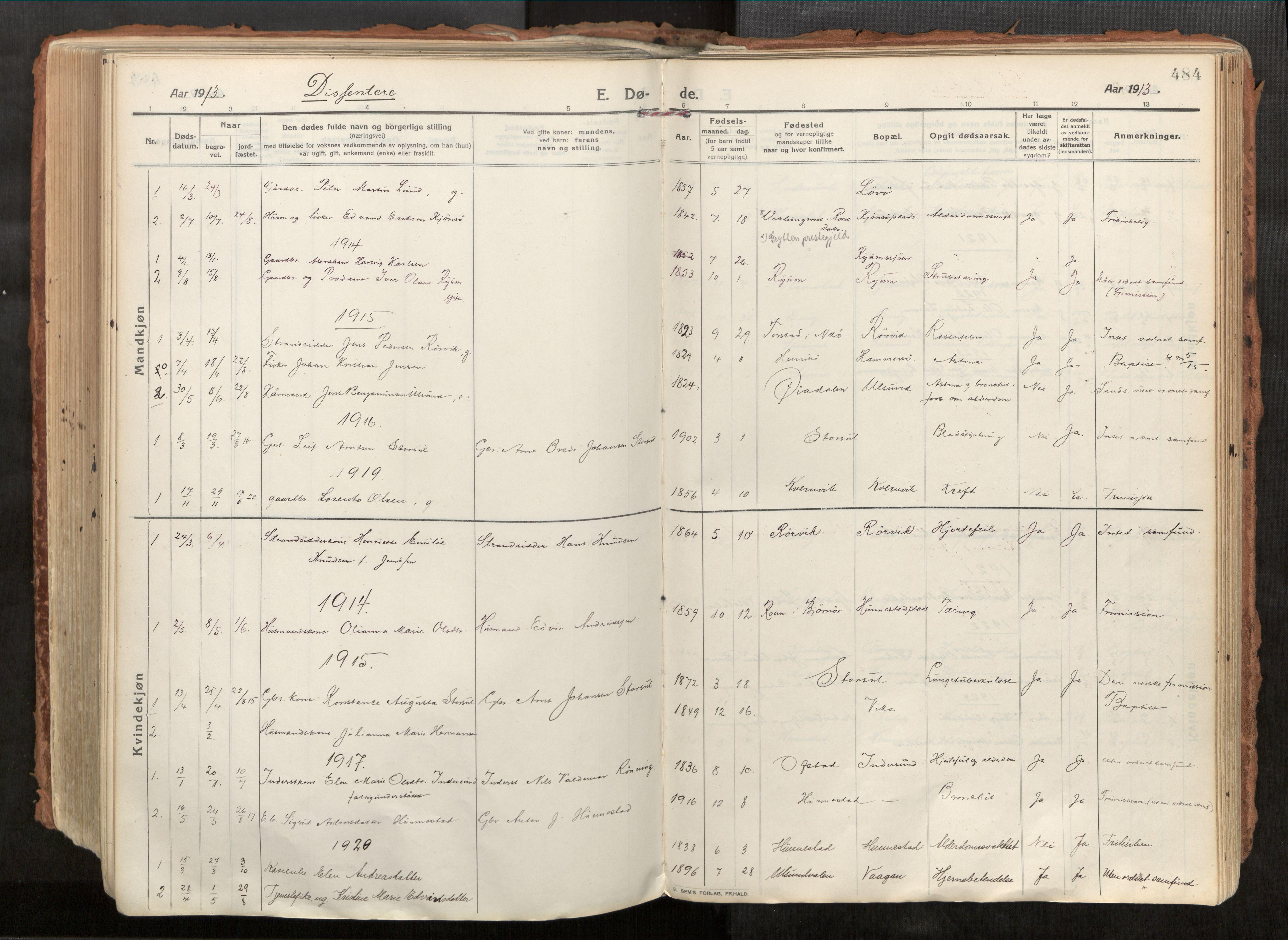 SAT, Vikna sokneprestkontor*, Parish register (official) no. 1, 1913-1934, p. 484