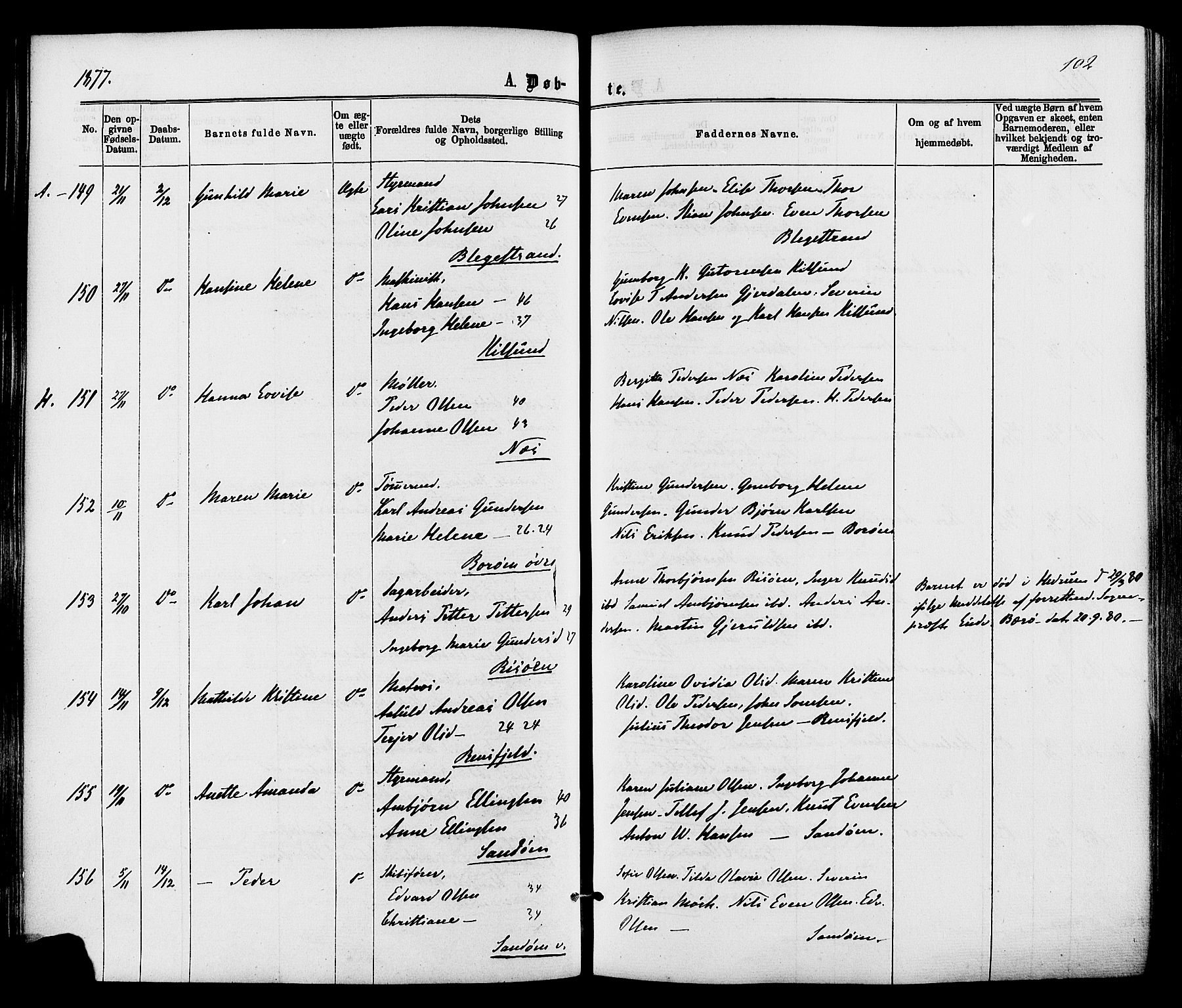 SAK, Dypvåg sokneprestkontor, F/Fa/Faa/L0007: Parish register (official) no. A 7/ 1, 1872-1884, p. 102