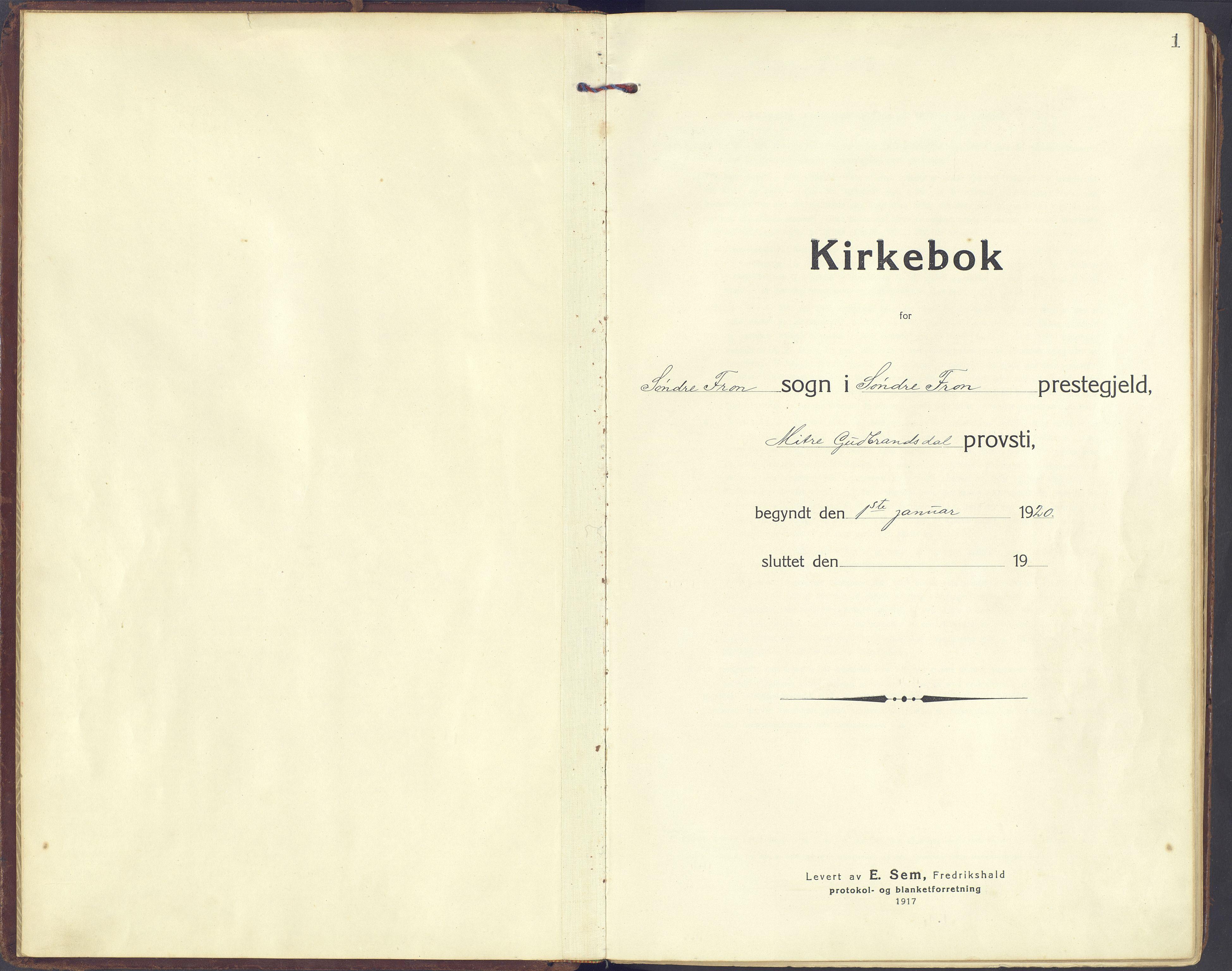 SAH, Sør-Fron prestekontor, H/Ha/Haa/L0005: Parish register (official) no. 5, 1920-1933, p. 1