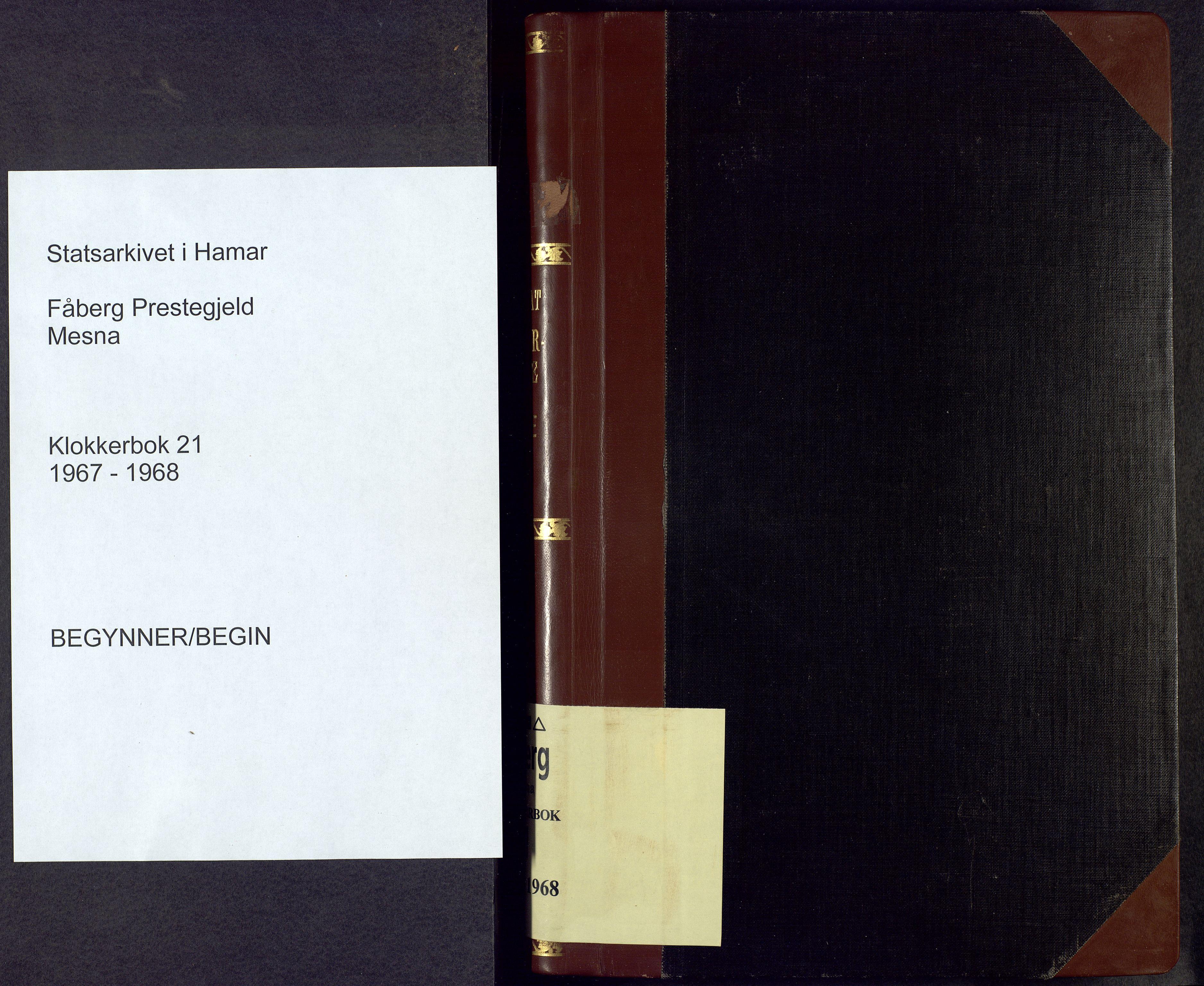 SAH, Fåberg prestekontor, H/Ha/Hab/L0021: Parish register (copy) no. 21, 1967-1968
