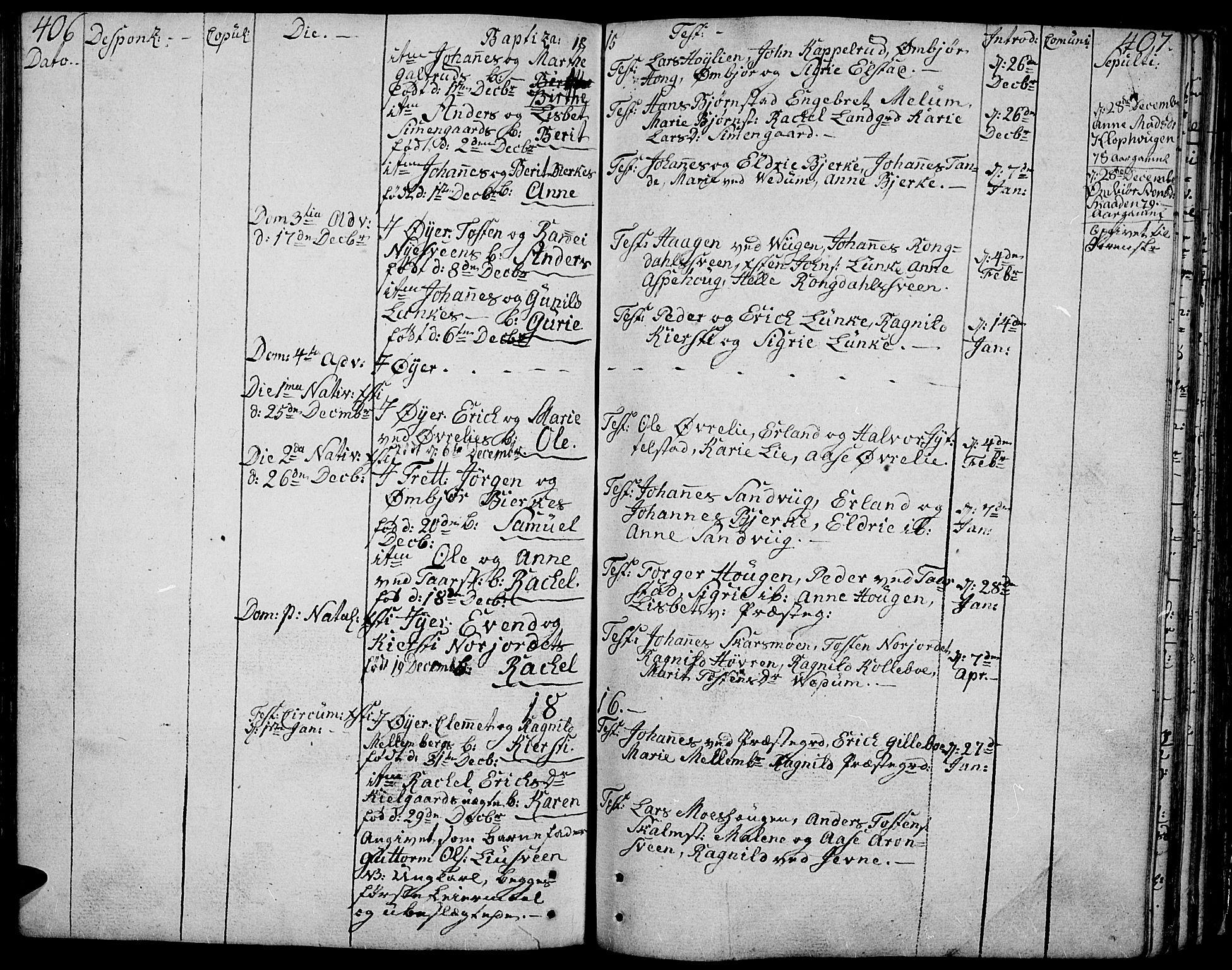 SAH, Øyer prestekontor, Parish register (official) no. 3, 1784-1824, p. 406-407