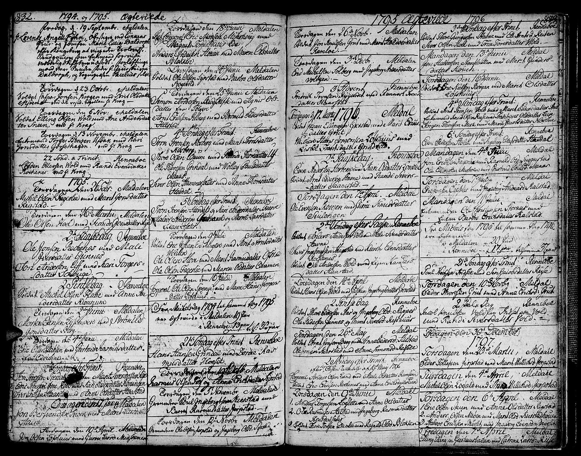 SAT, Ministerialprotokoller, klokkerbøker og fødselsregistre - Sør-Trøndelag, 672/L0852: Parish register (official) no. 672A05, 1776-1815, p. 832-833