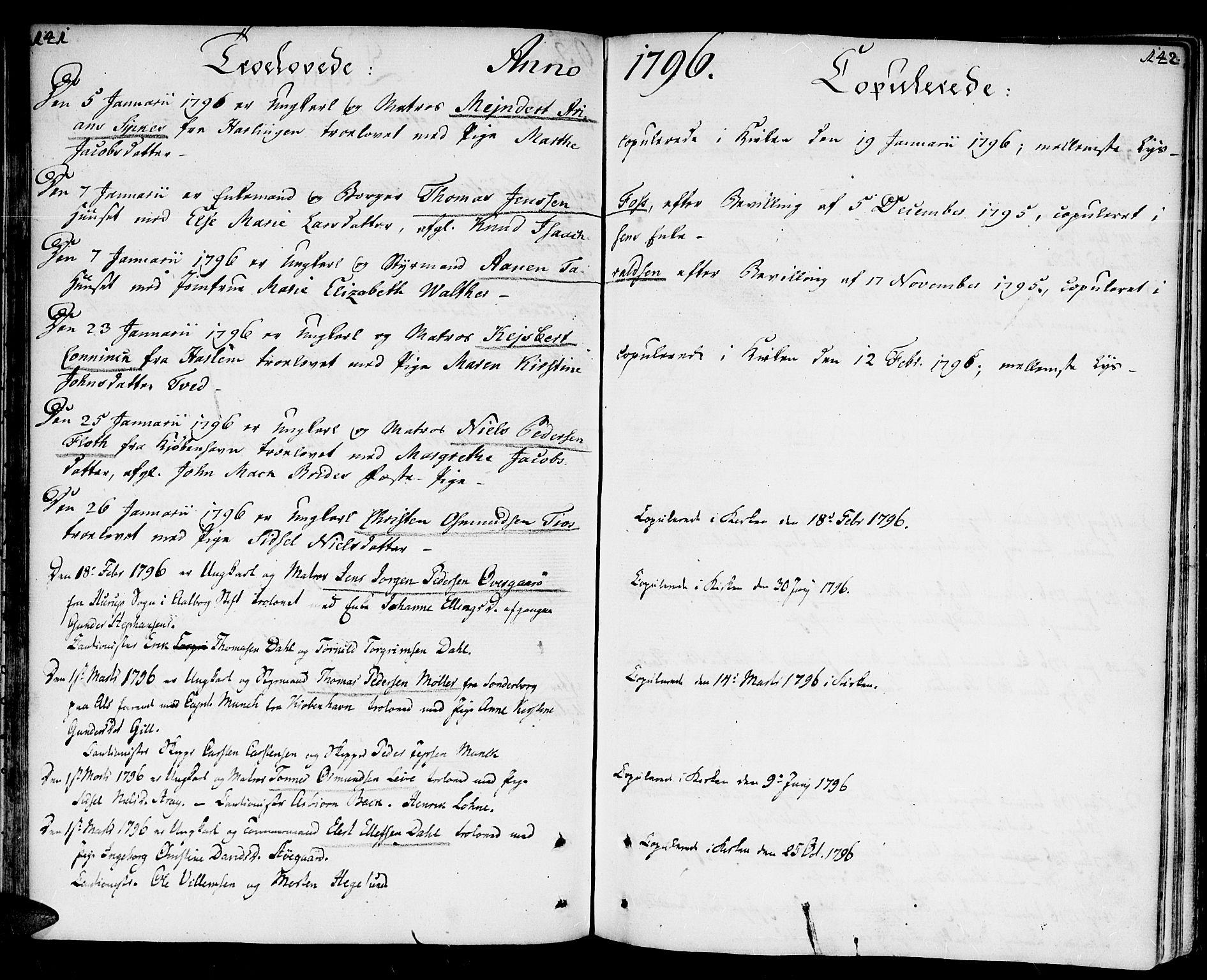 SAK, Kristiansand domprosti, F/Fa/L0005: Parish register (official) no. A 5, 1776-1818, p. 141-142