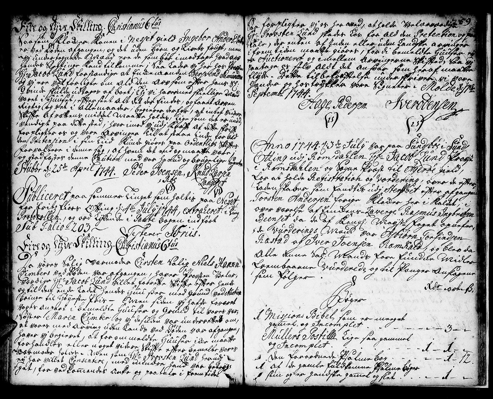 SAT, Romsdal prosti, I/I1/L0001: Retts- og skifteprotokoll m/register, 1706-1749, p. 258b-259a