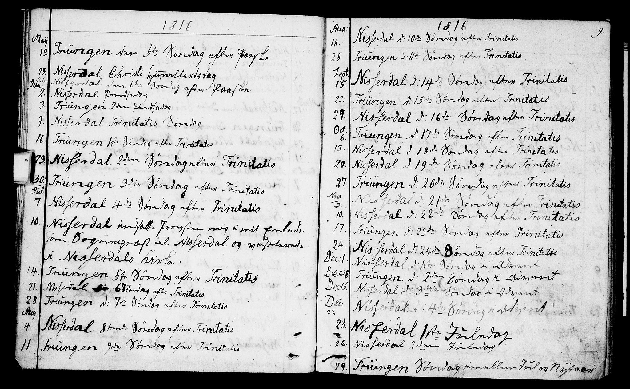 SAKO, Nissedal kirkebøker, F/Fa/L0001: Parish register (official) no. I 1, 1811-1814, p. 9