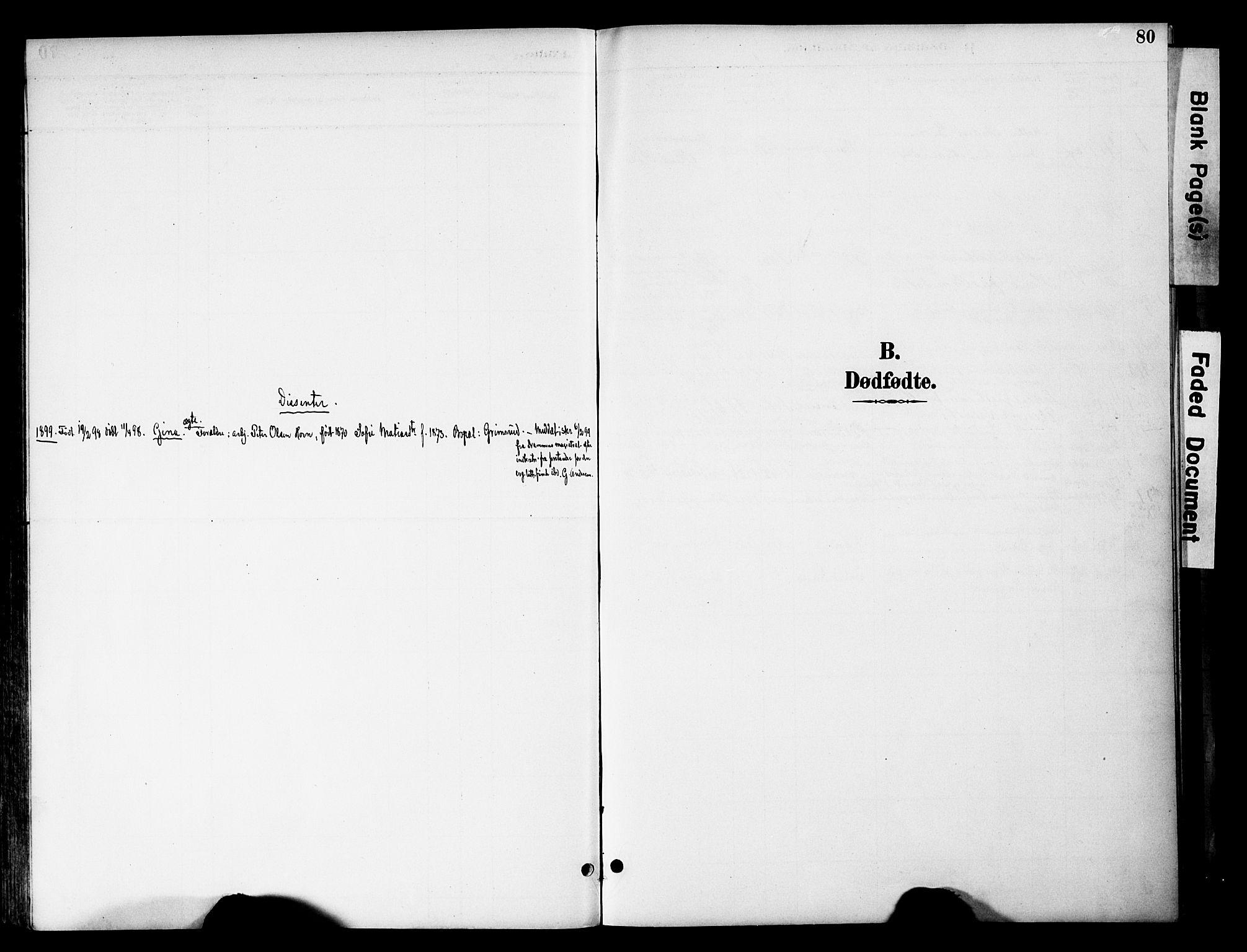 SAH, Gran prestekontor, Parish register (official) no. 20, 1889-1899, p. 80