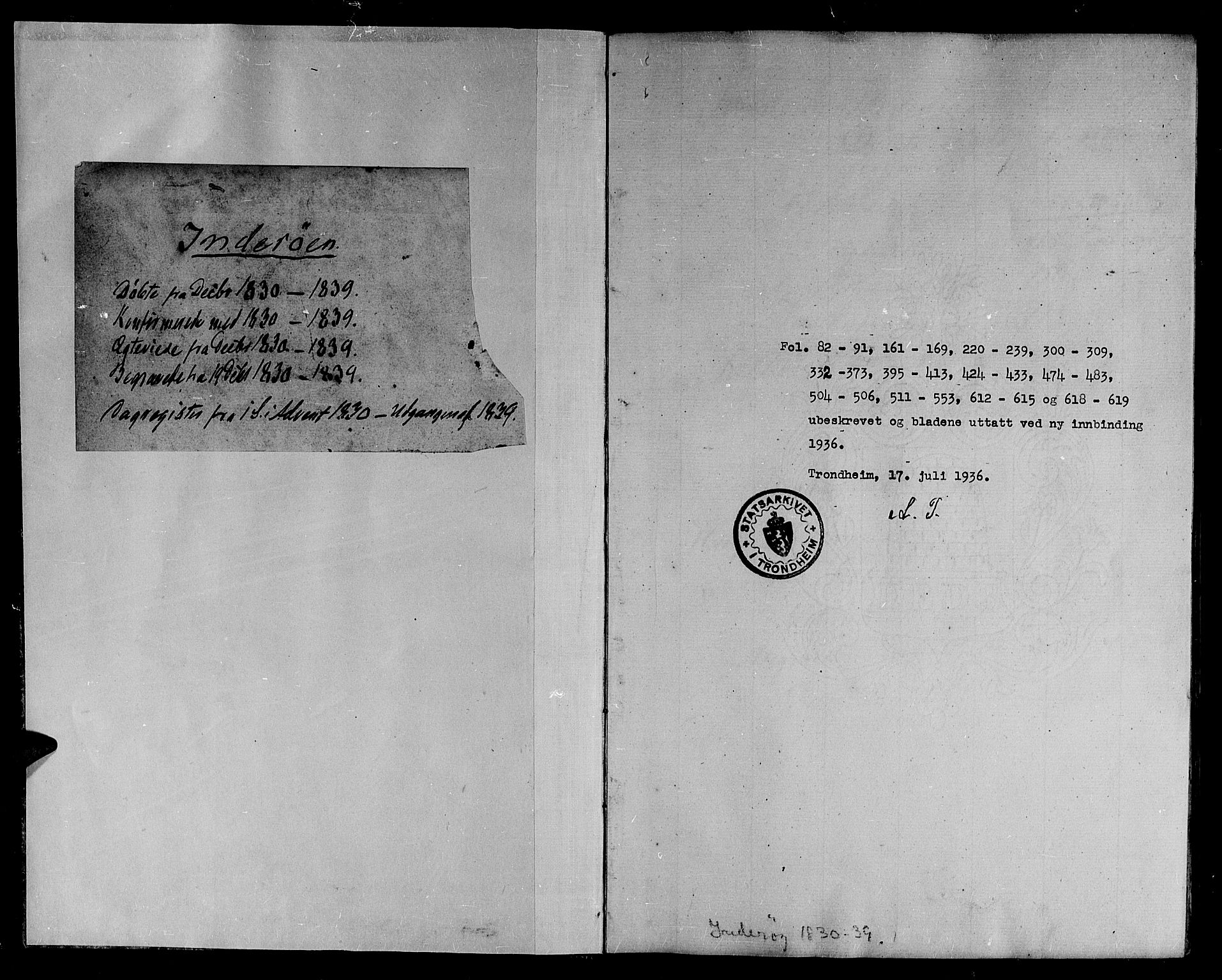 SAT, Ministerialprotokoller, klokkerbøker og fødselsregistre - Nord-Trøndelag, 730/L0277: Parish register (official) no. 730A06 /1, 1830-1839