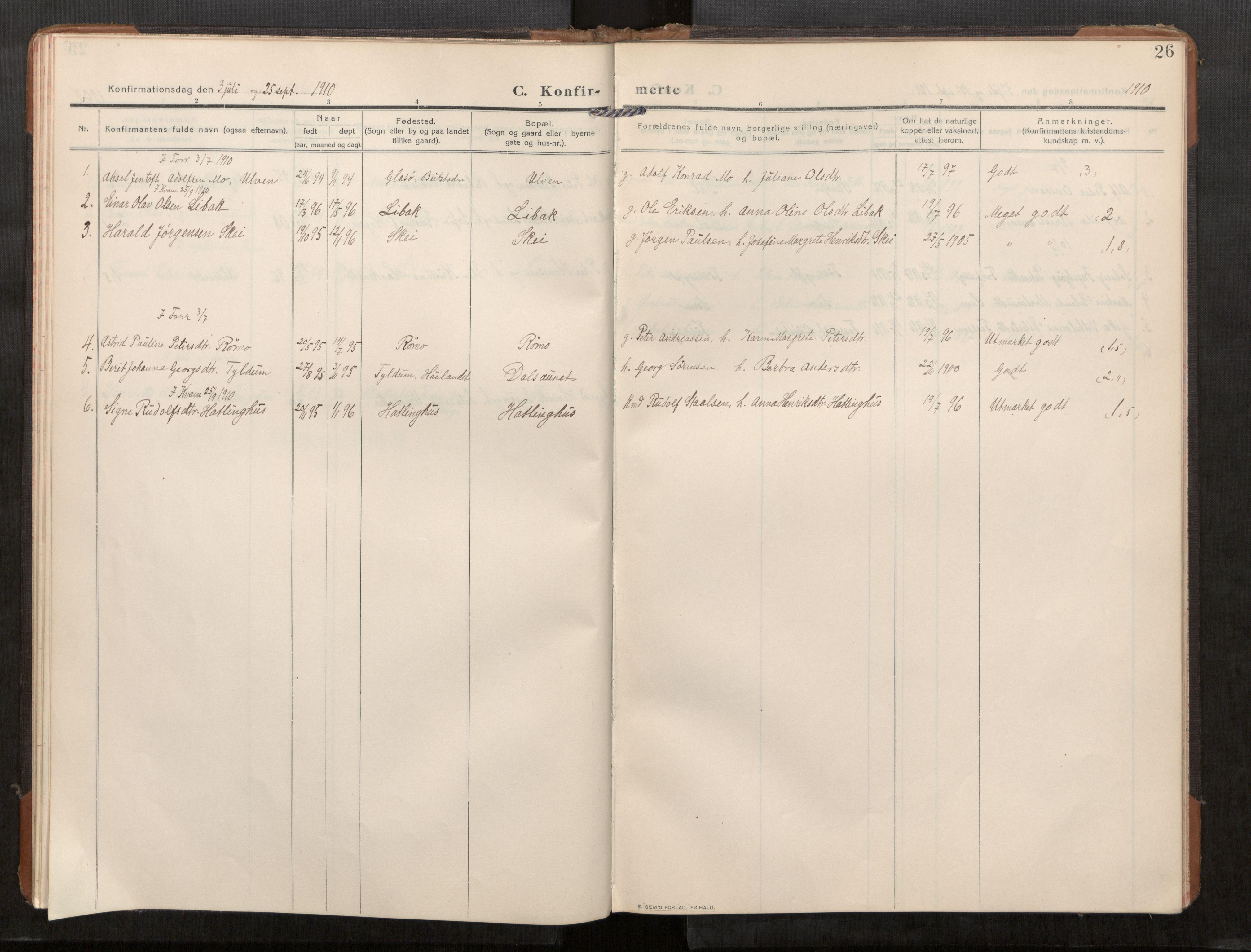 SAT, Stod sokneprestkontor, I/I1/I1a/L0003: Parish register (official) no. 3, 1909-1934, p. 26