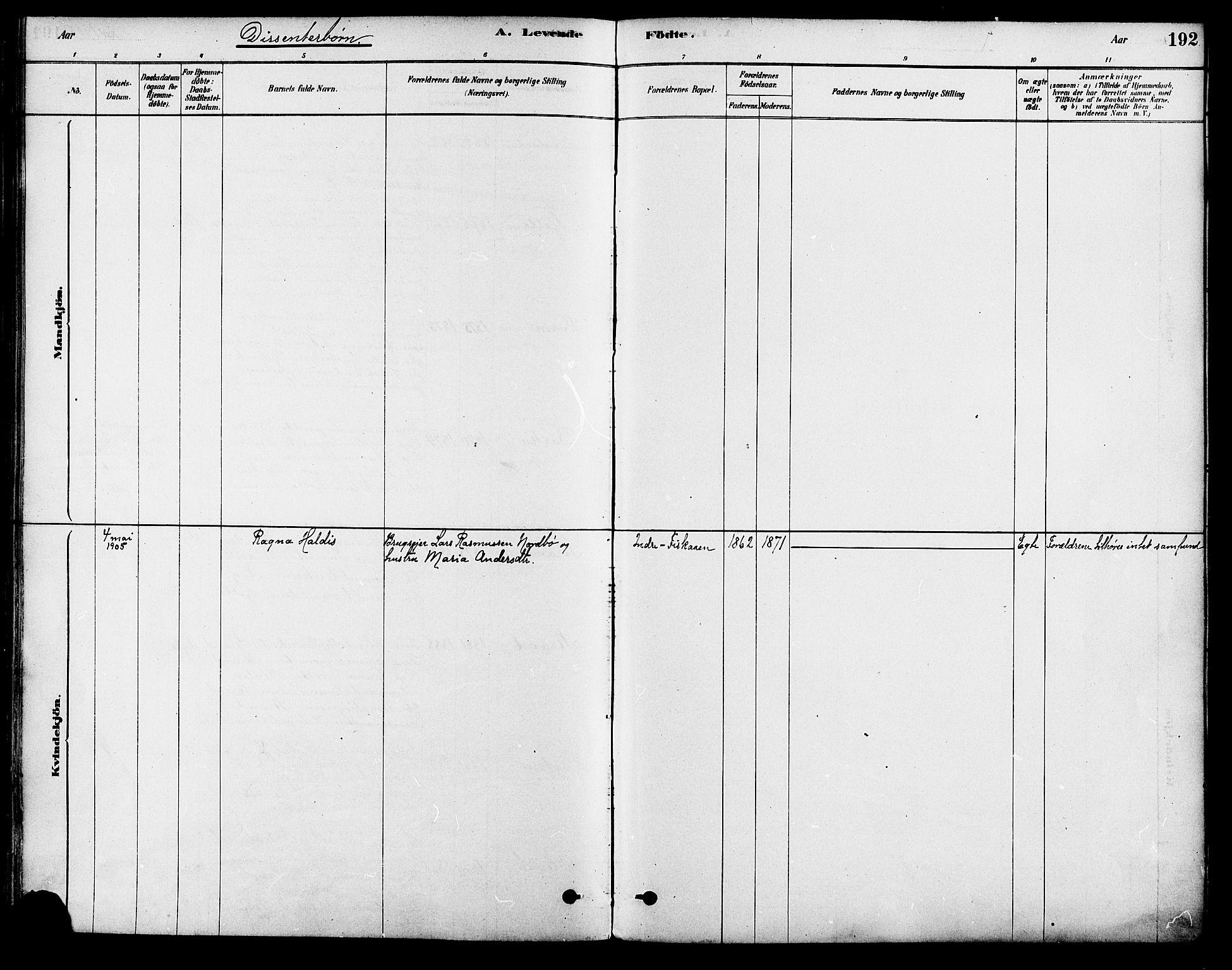 SAST, Strand sokneprestkontor, H/Ha/Haa/L0009: Parish register (official) no. A 9, 1877-1908, p. 192
